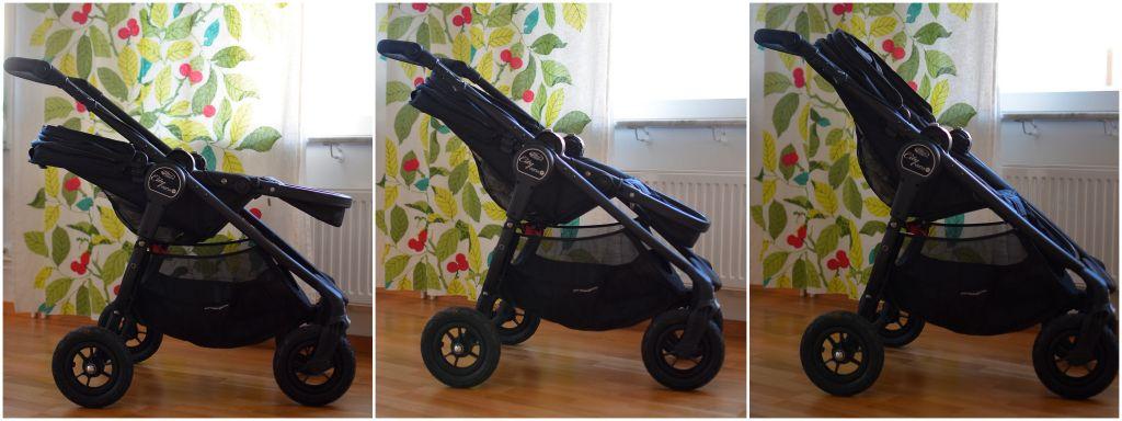 Baby Jogger City Versa GT olika lägen på sittdelen