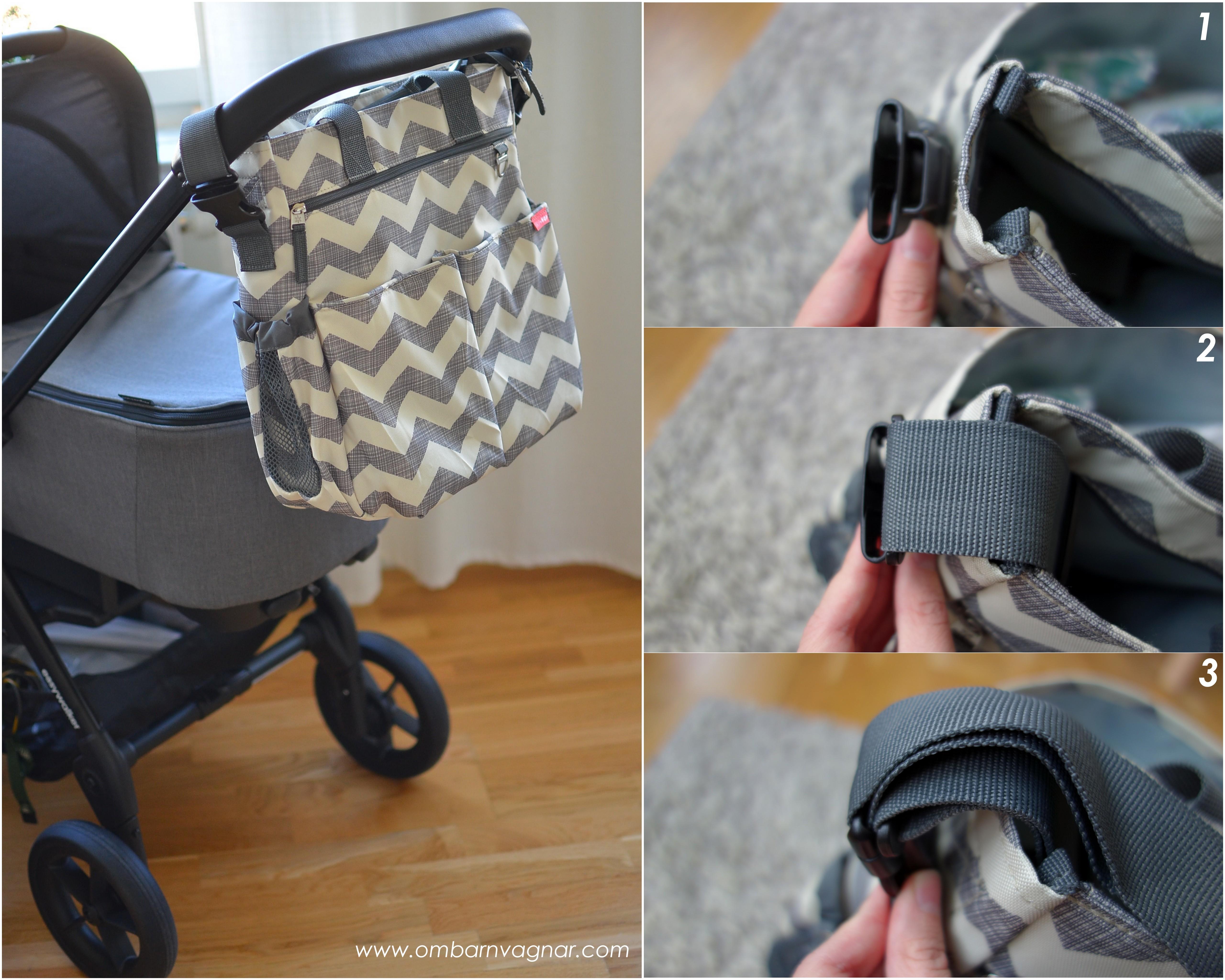Skip Hop Duo Signature har smarta, inbyggda barnvagnshängen