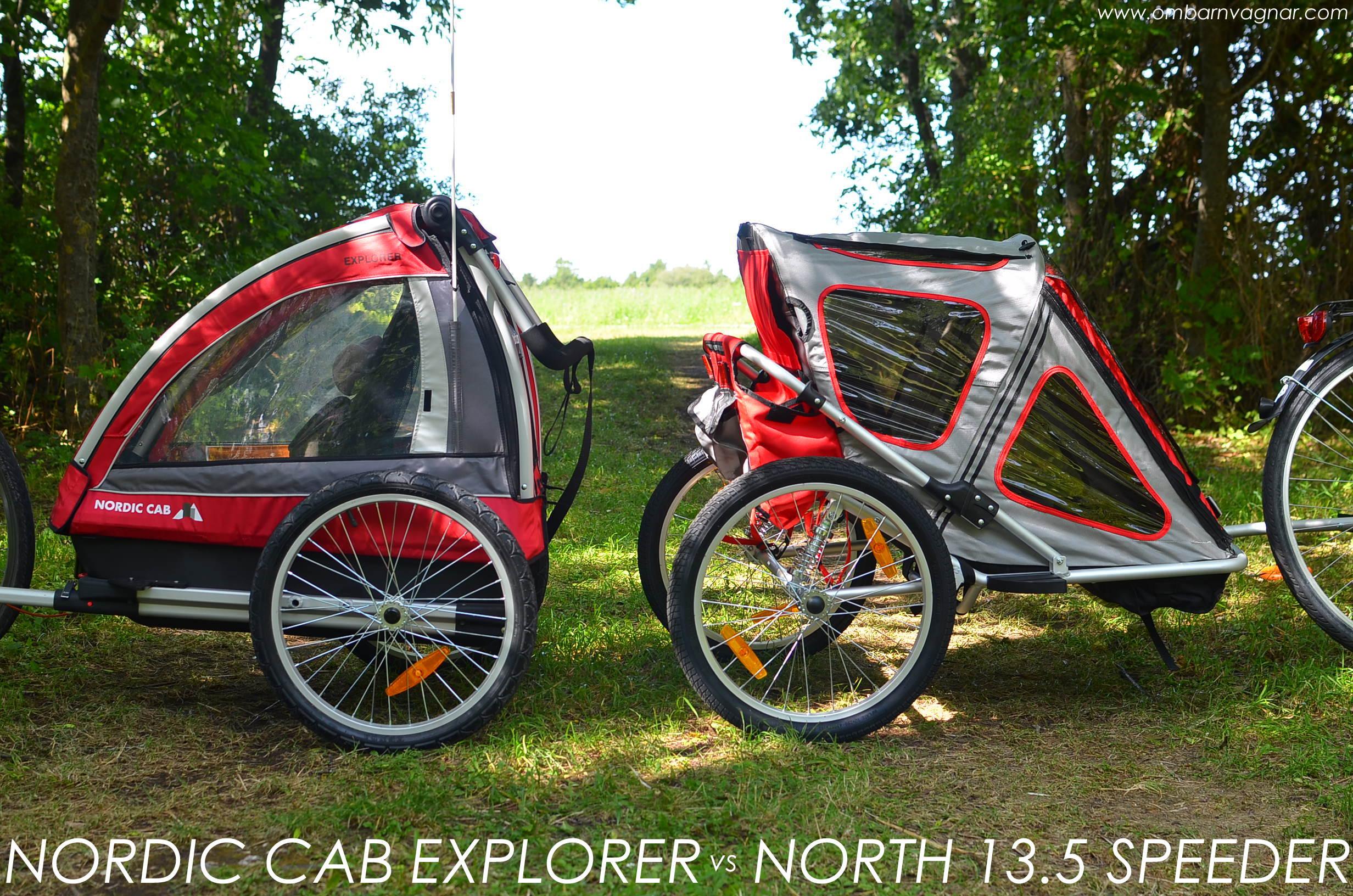 Jämförelse av två cykelvagnar - North 13.5 Speeder och Nordic Cab Explorer