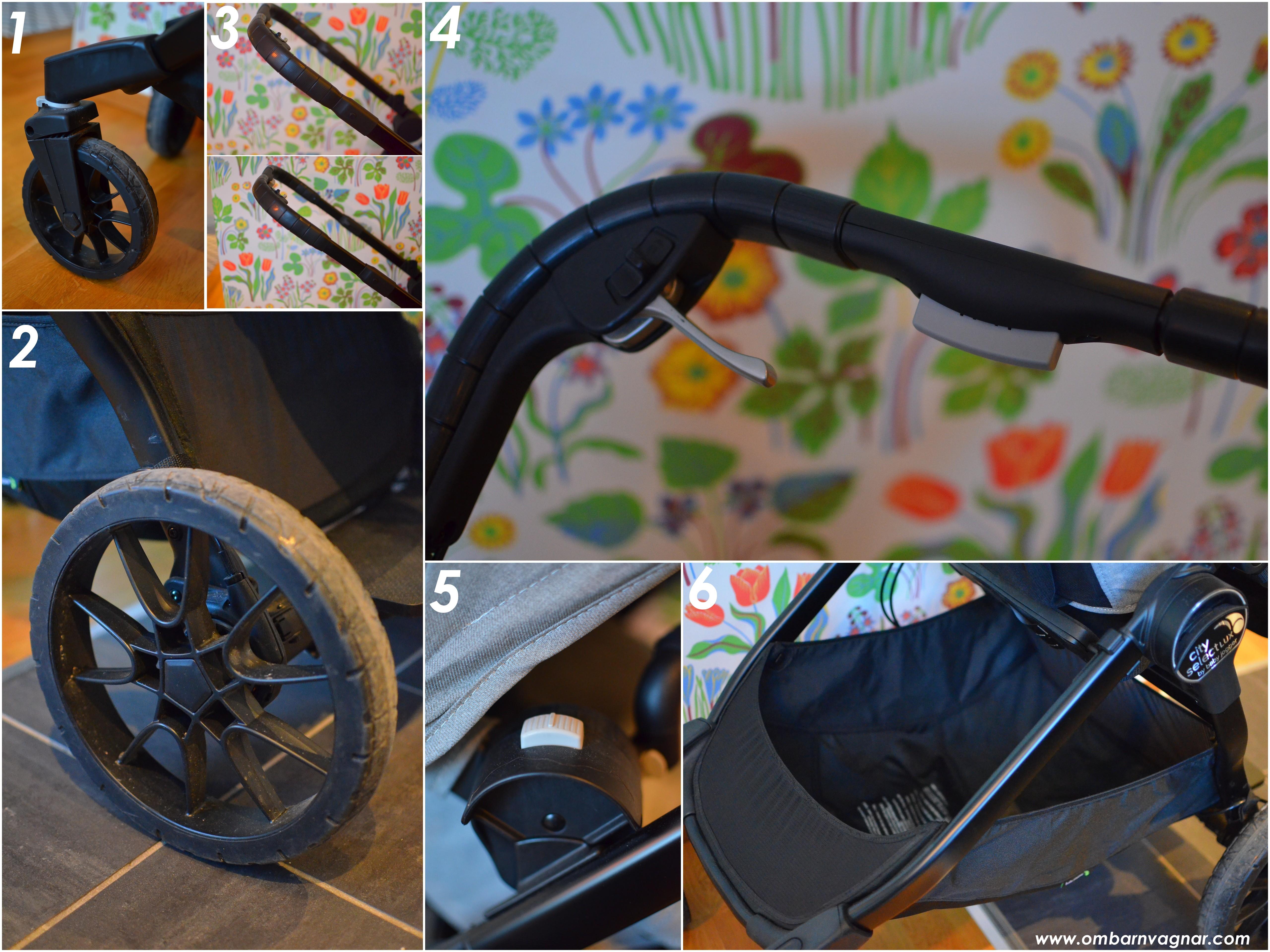 Baby Jogger City Select Lux har rejäl handbroms och stora hjul