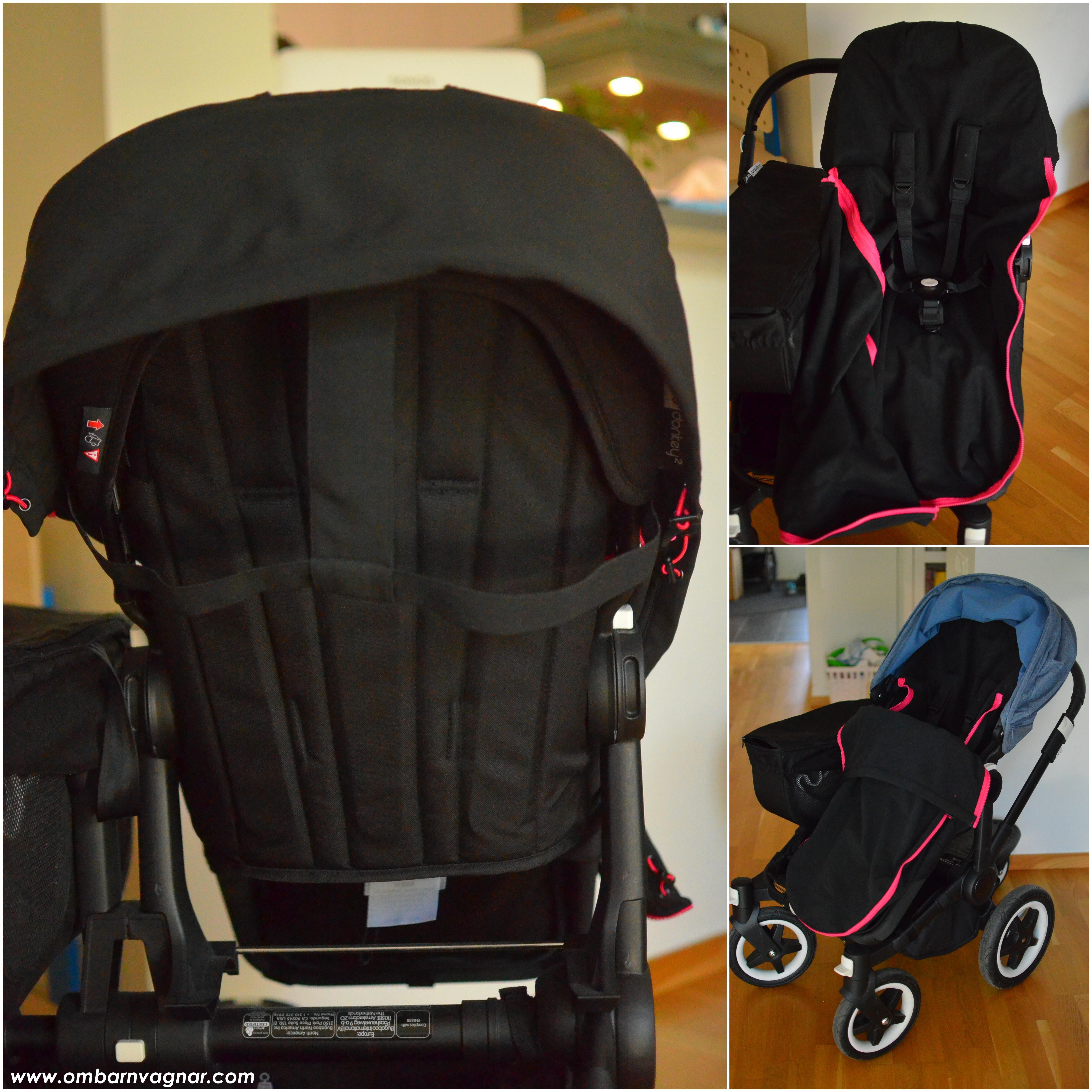 Så sitter The Buppa Brand Softshell Åkpåse i barnvagnen