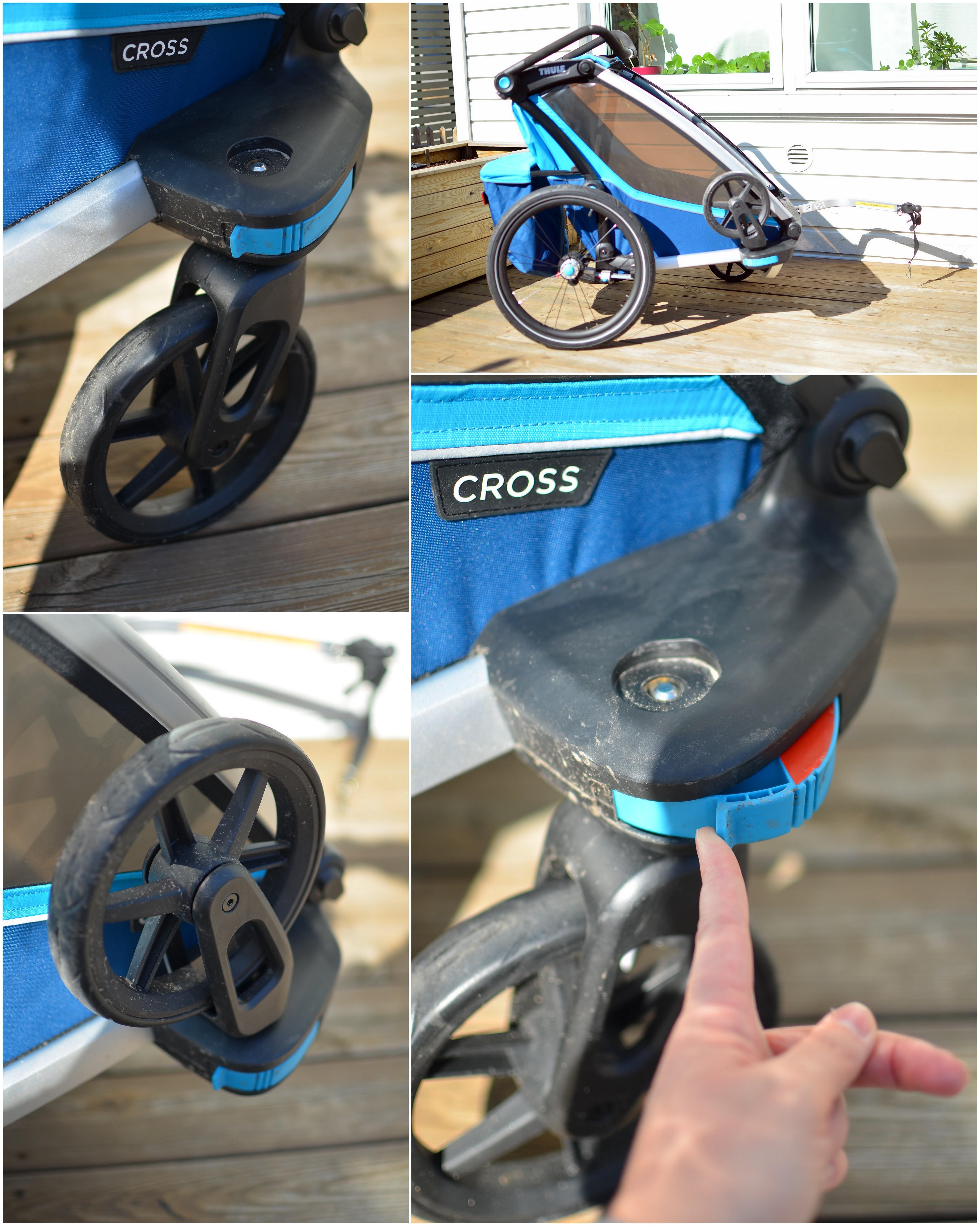 Thule Chariot Cross 2 har smart lösning för förvaring av framhjulen