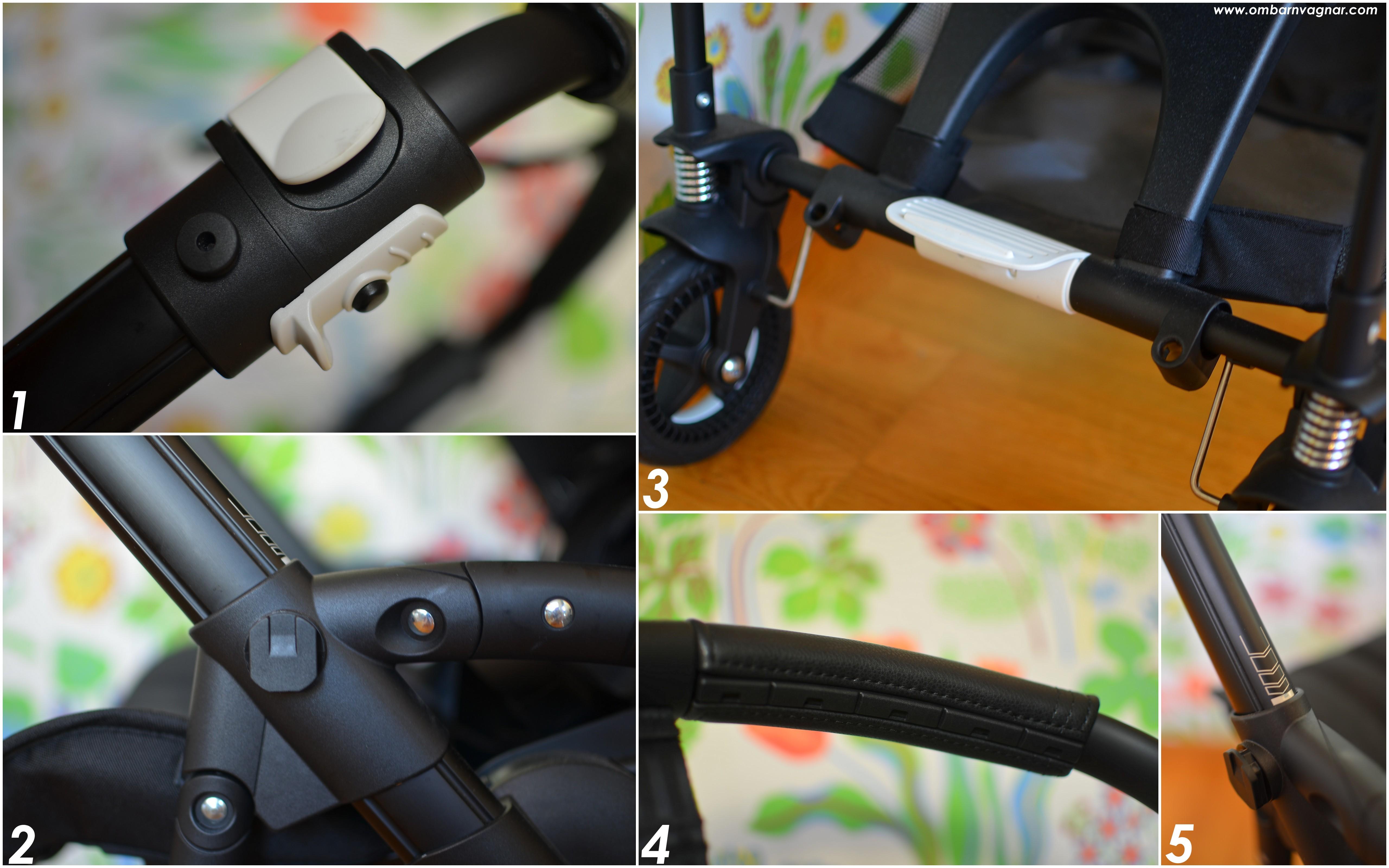 Bugaboo Bee5 har smarta, intregrerade fästen för ståbräda och mugghållare