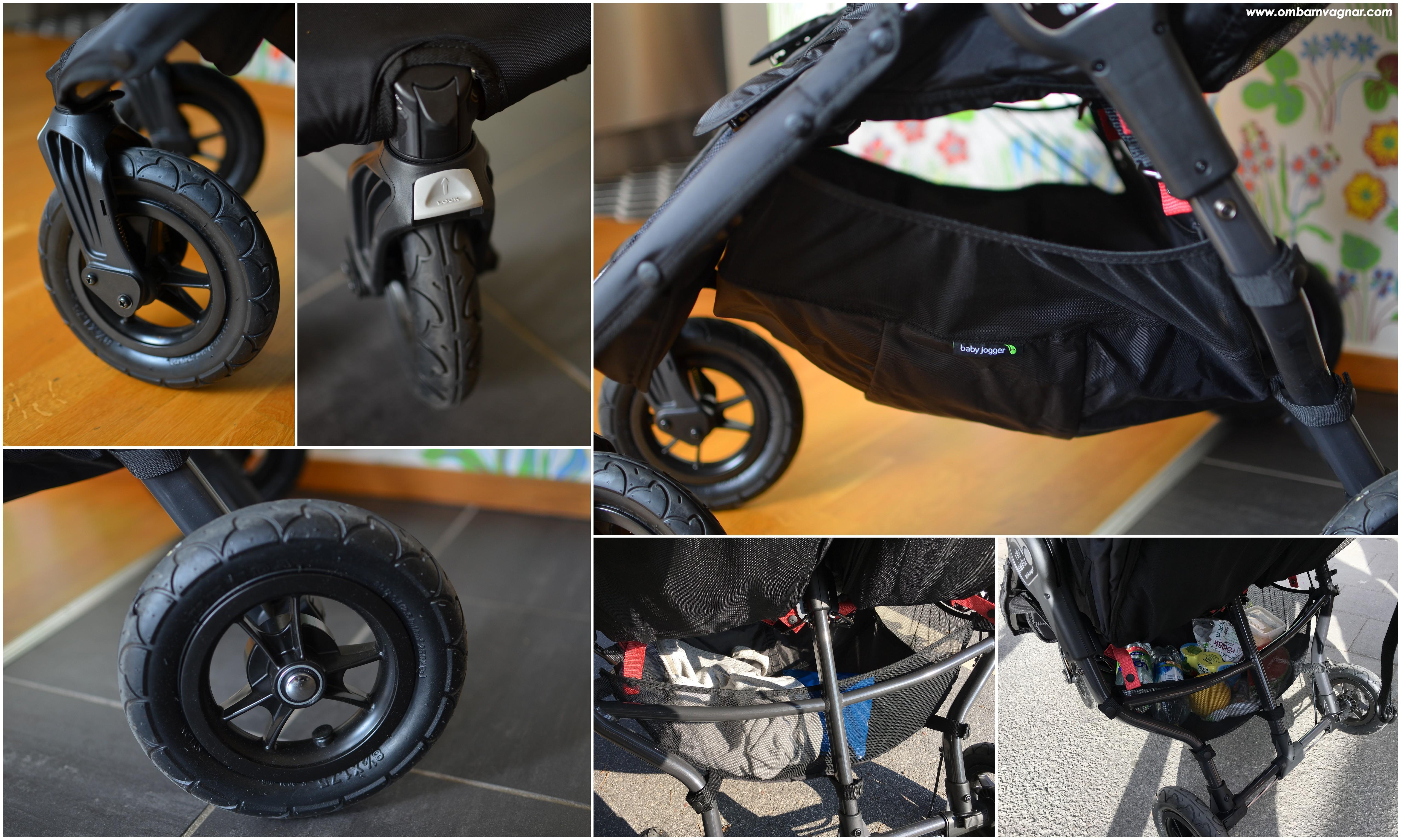 Baby Jogger City Mini GT Double har skumfyllda hjul och stor varukorg