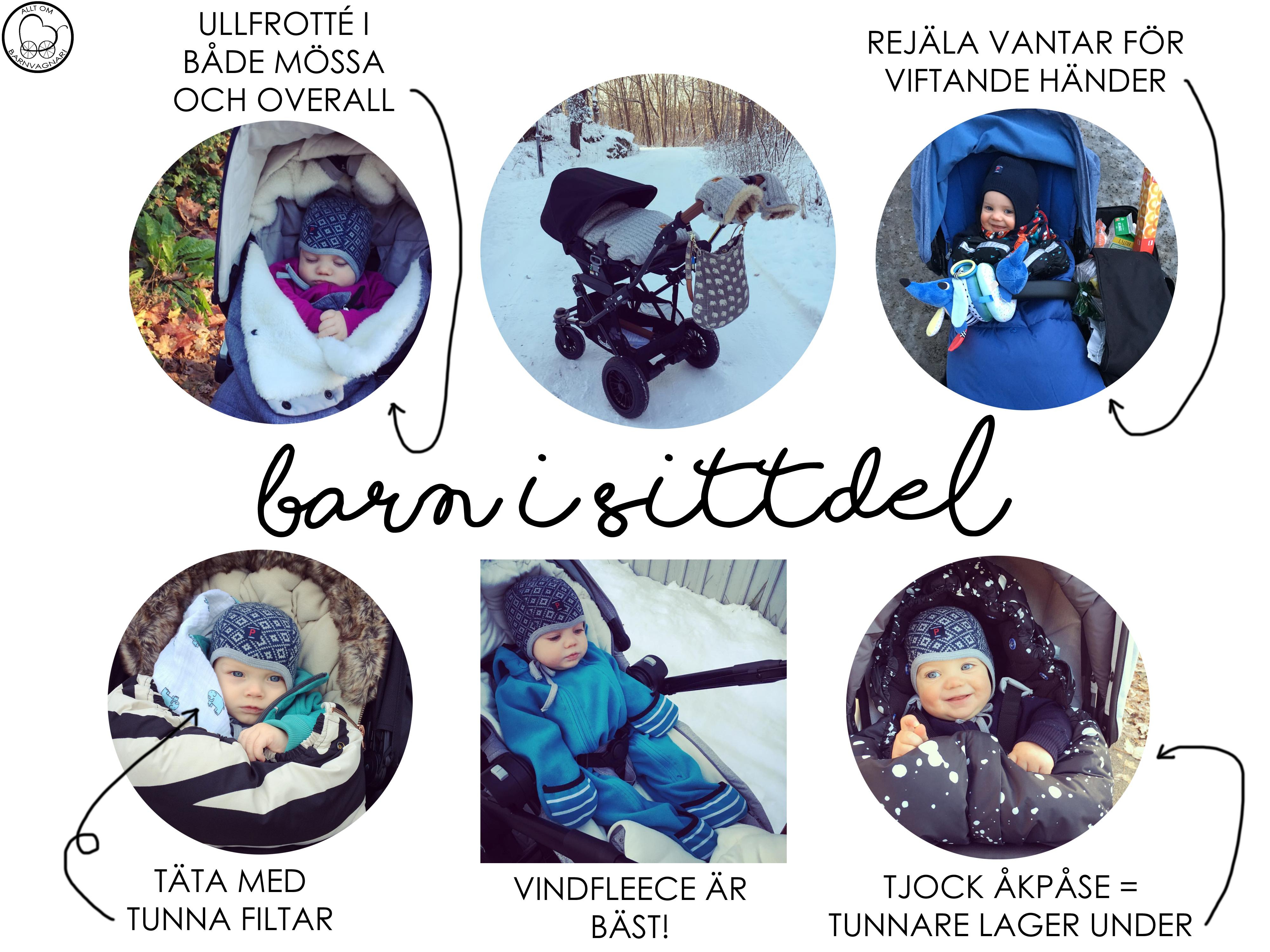 Kläder på barn i sittdel på vintern