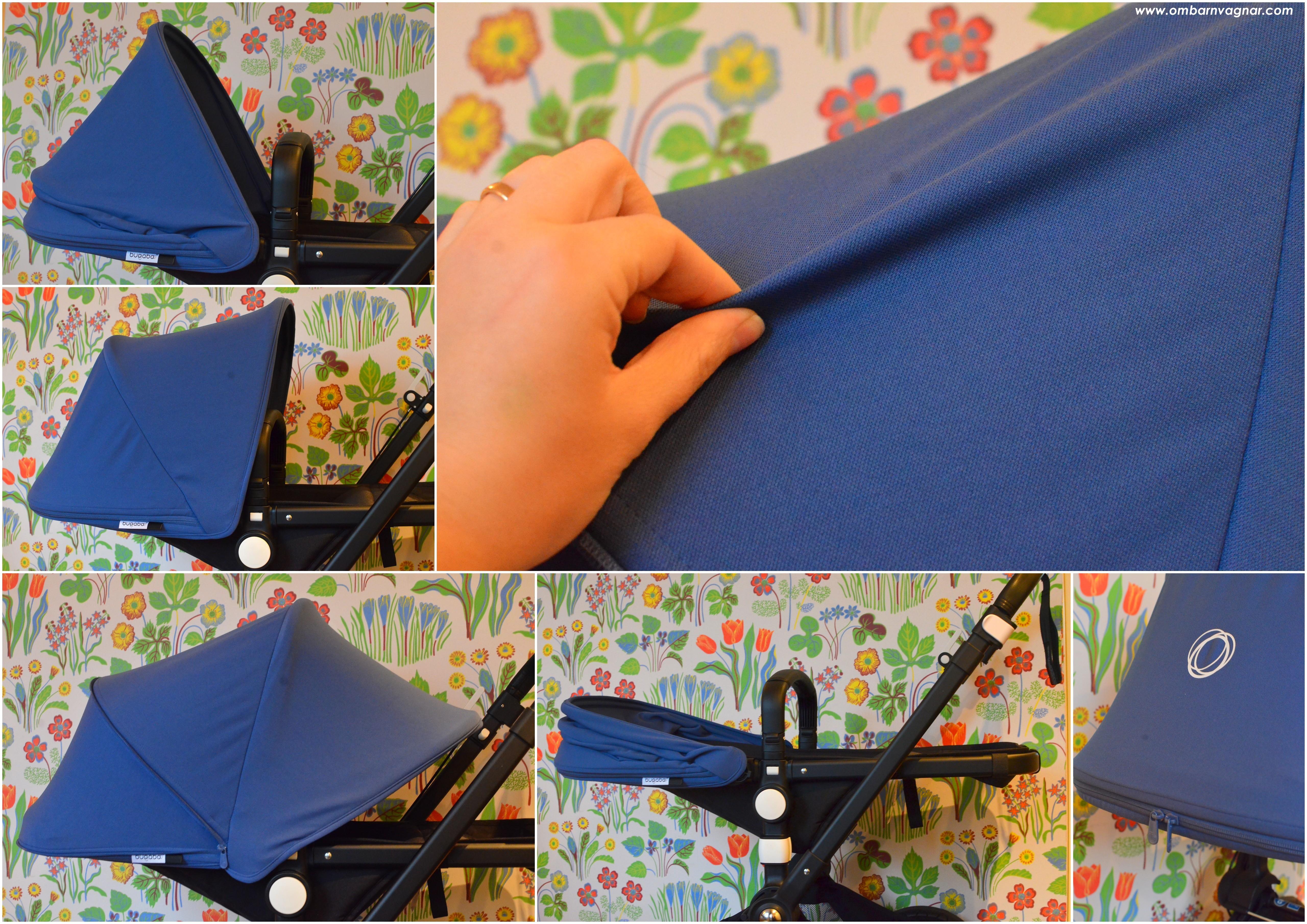 Bugaboo Cameleon3 Plus har en förlängningsbar sufflett i canvas och i stretchigt pikétyg