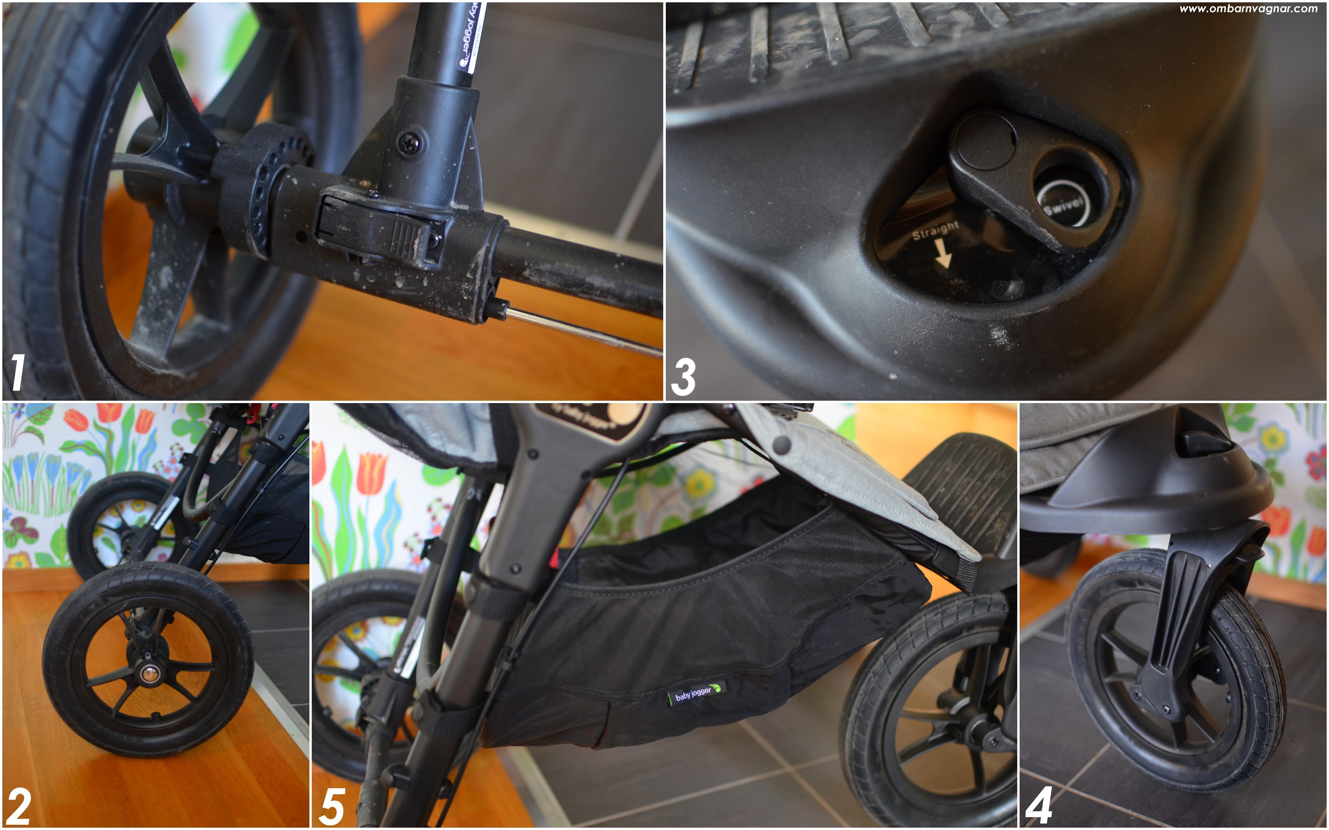 Baby Jogger City Elite stora foamfyllda punkteringsfria hjul och rymlig varukorg