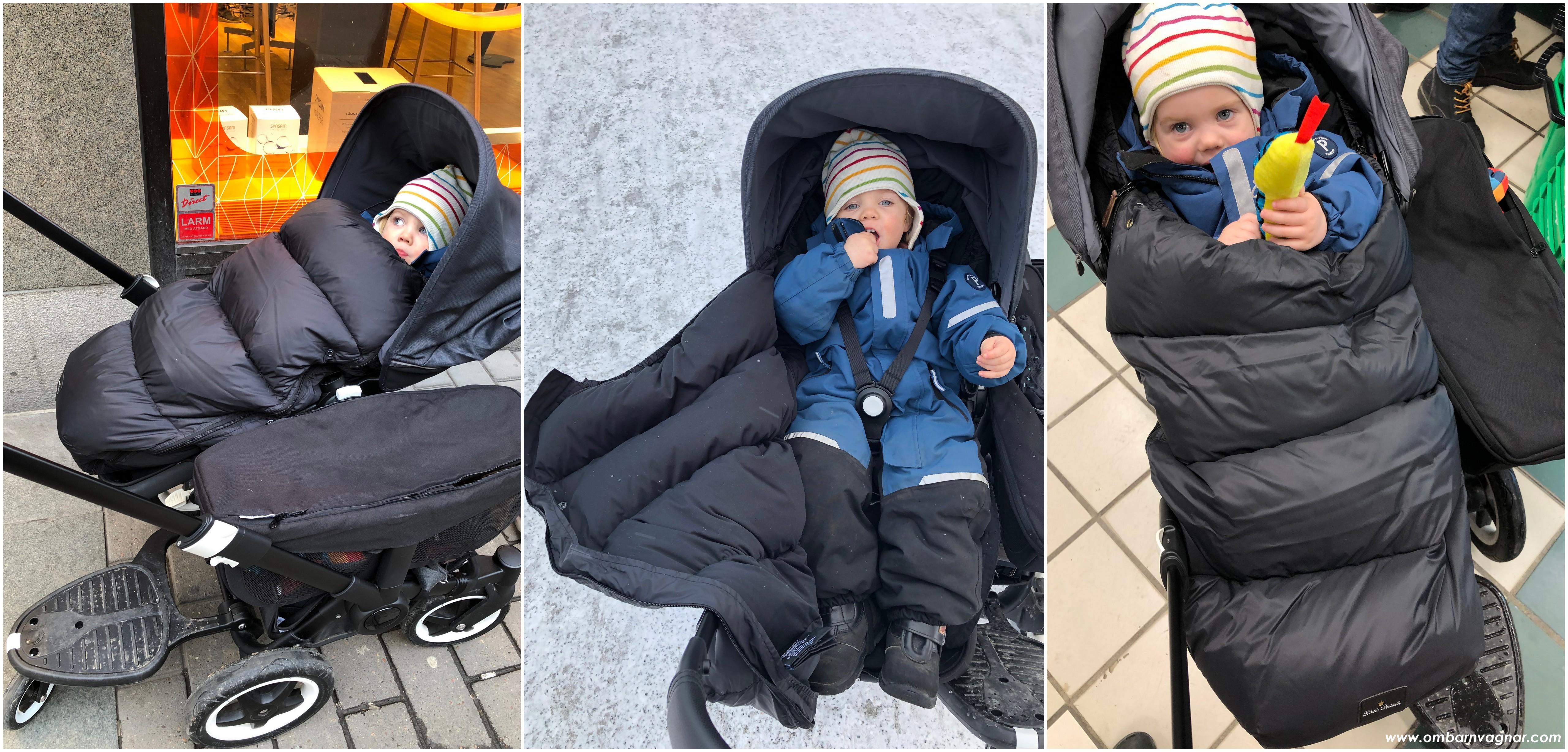 Elodie Details Lightweight Dunåkpåse med barn i åkpåsen