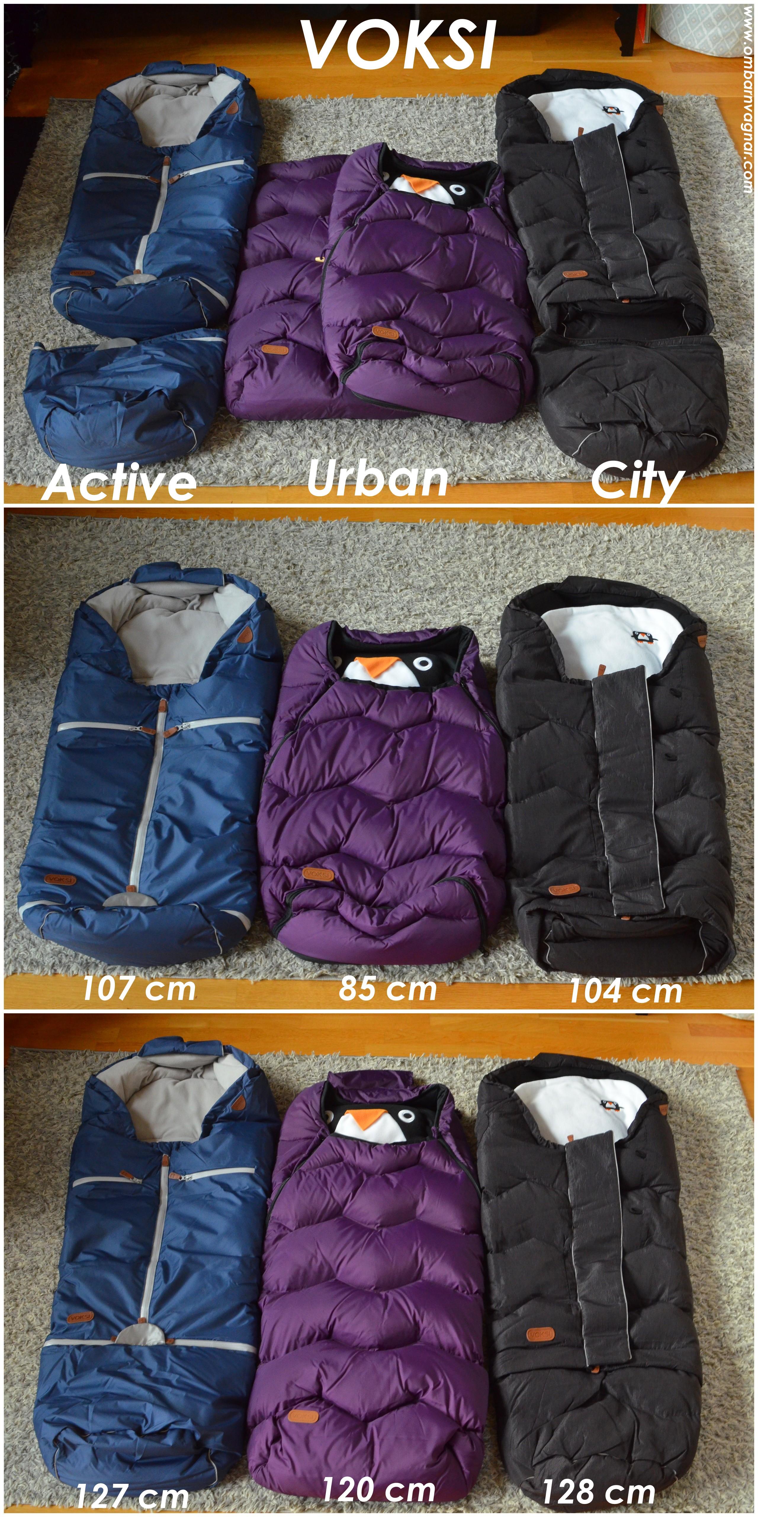 Voksi City är förlängningsbar och jämförs på bilden med Voksi Active och Voksi Urban