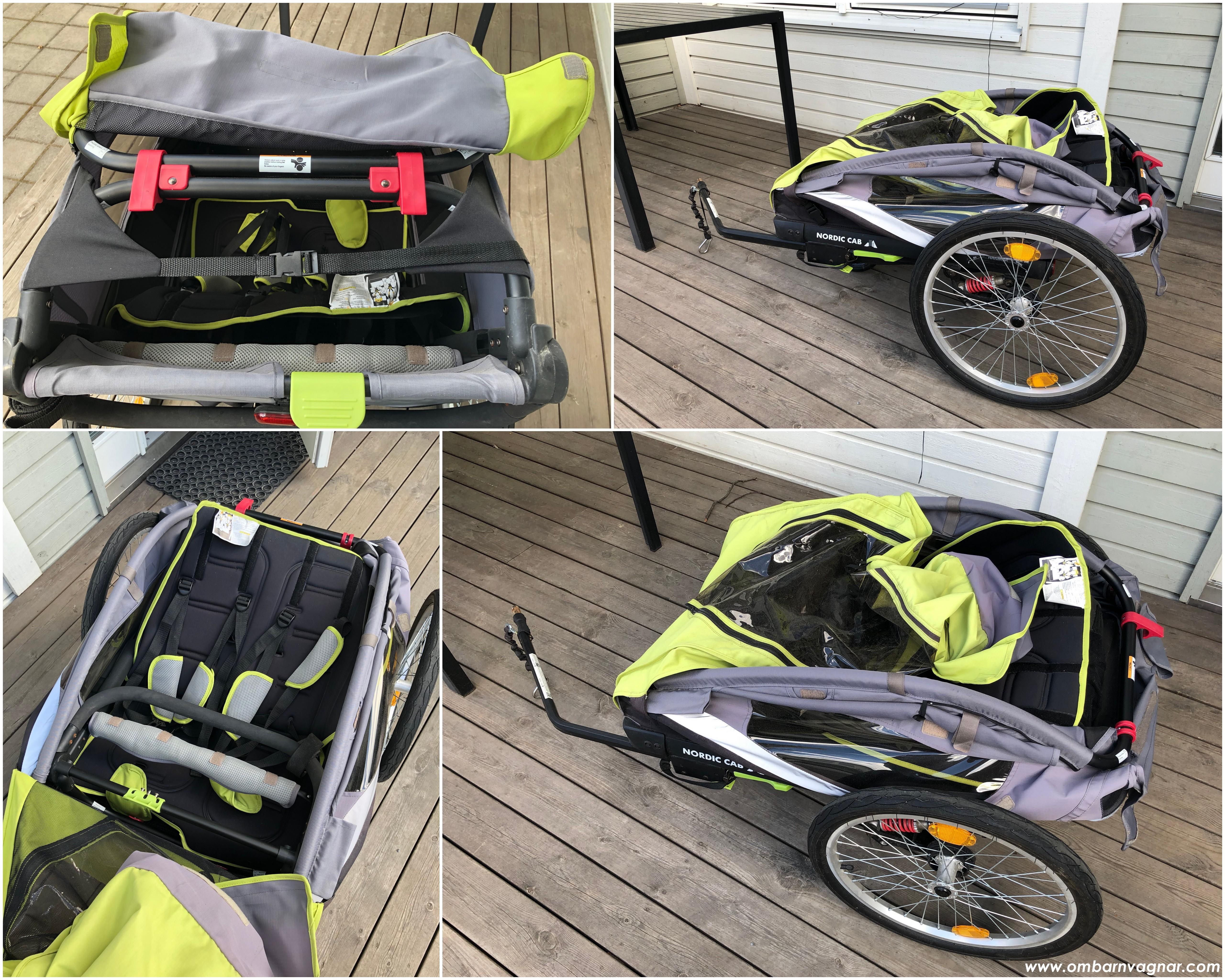 Nordic Cab Active 2-in-1 Cykelvagn ihopfällning fälla ihop cykelvagnen