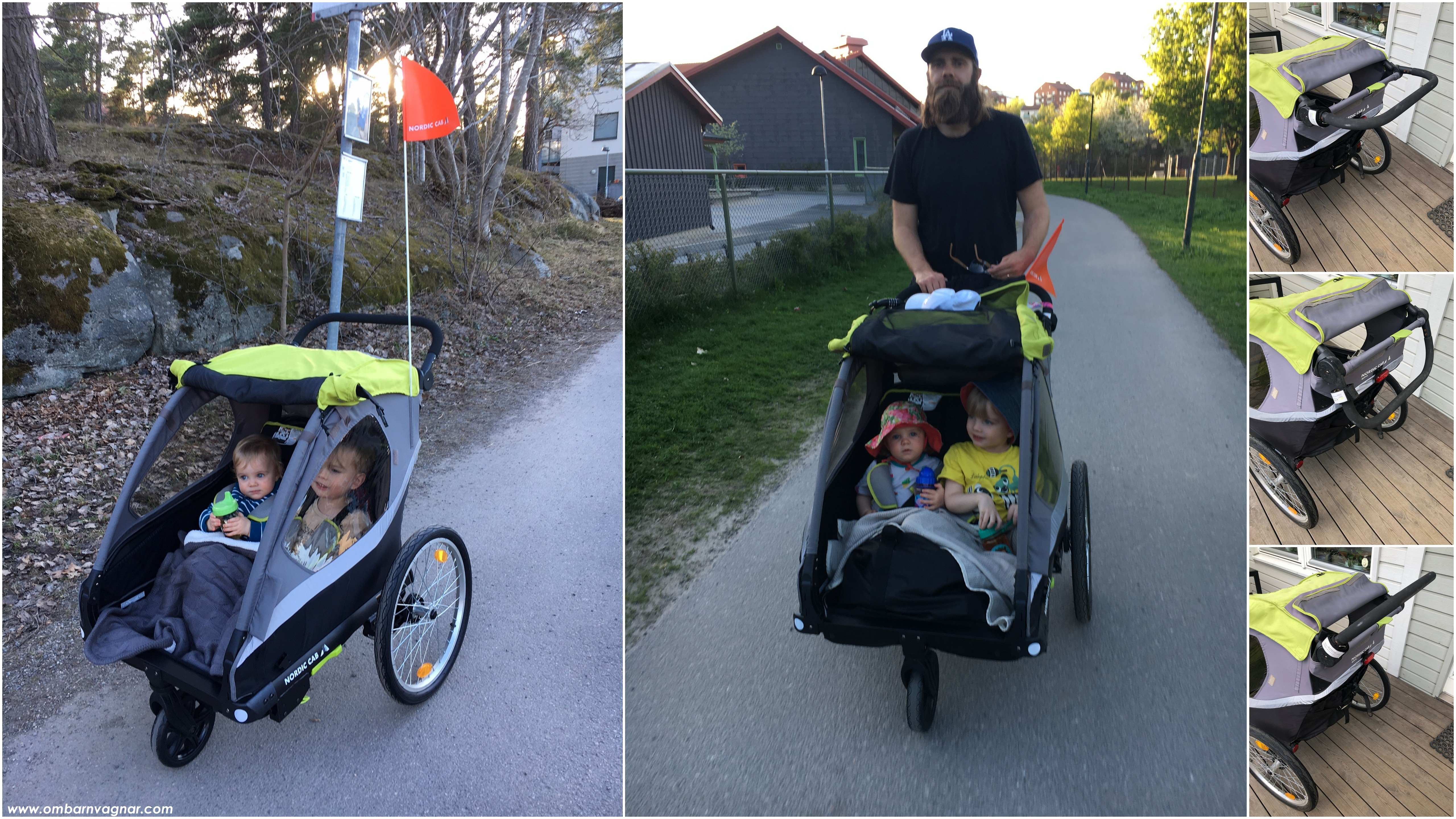 Nordic Cab Active 2-in-1 Cykelvagn som barnvagn, promenera med vagnen