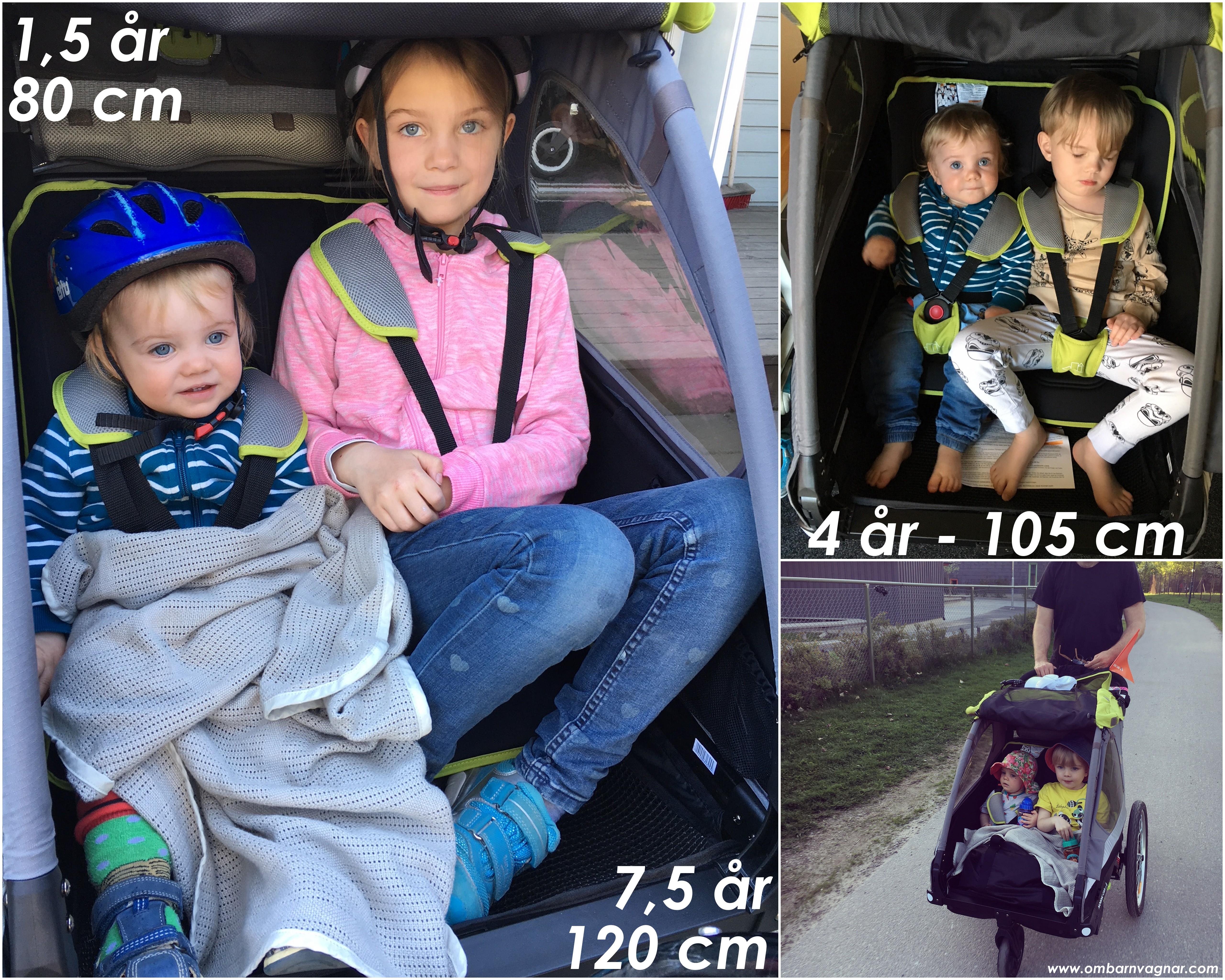 Nordic Cab Active 2-in-1 Cykelvagn utrymme för barnen rymlighet