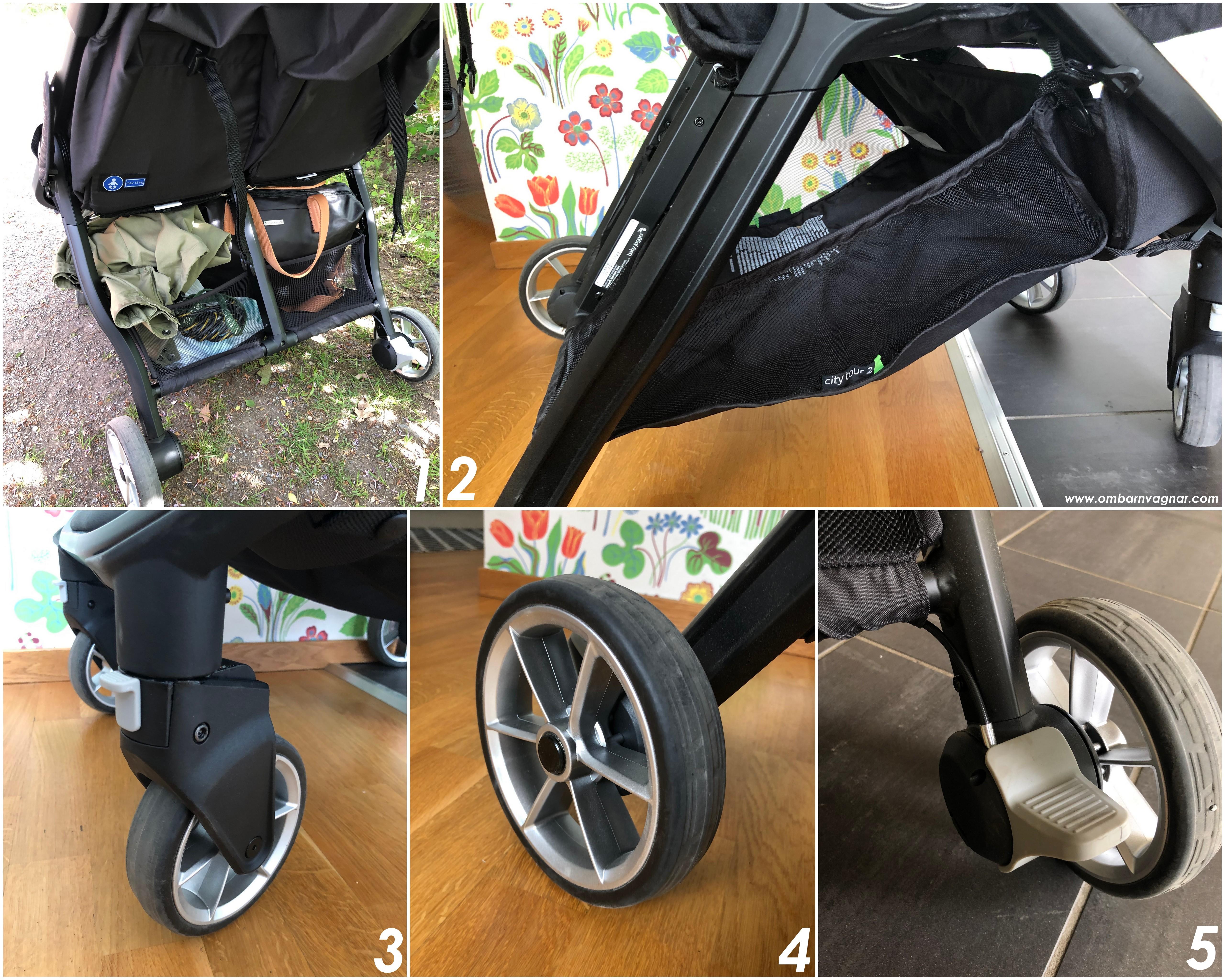 Baby Jogger City Tour 2 Double har rymlig varukorg och låsbara hjul