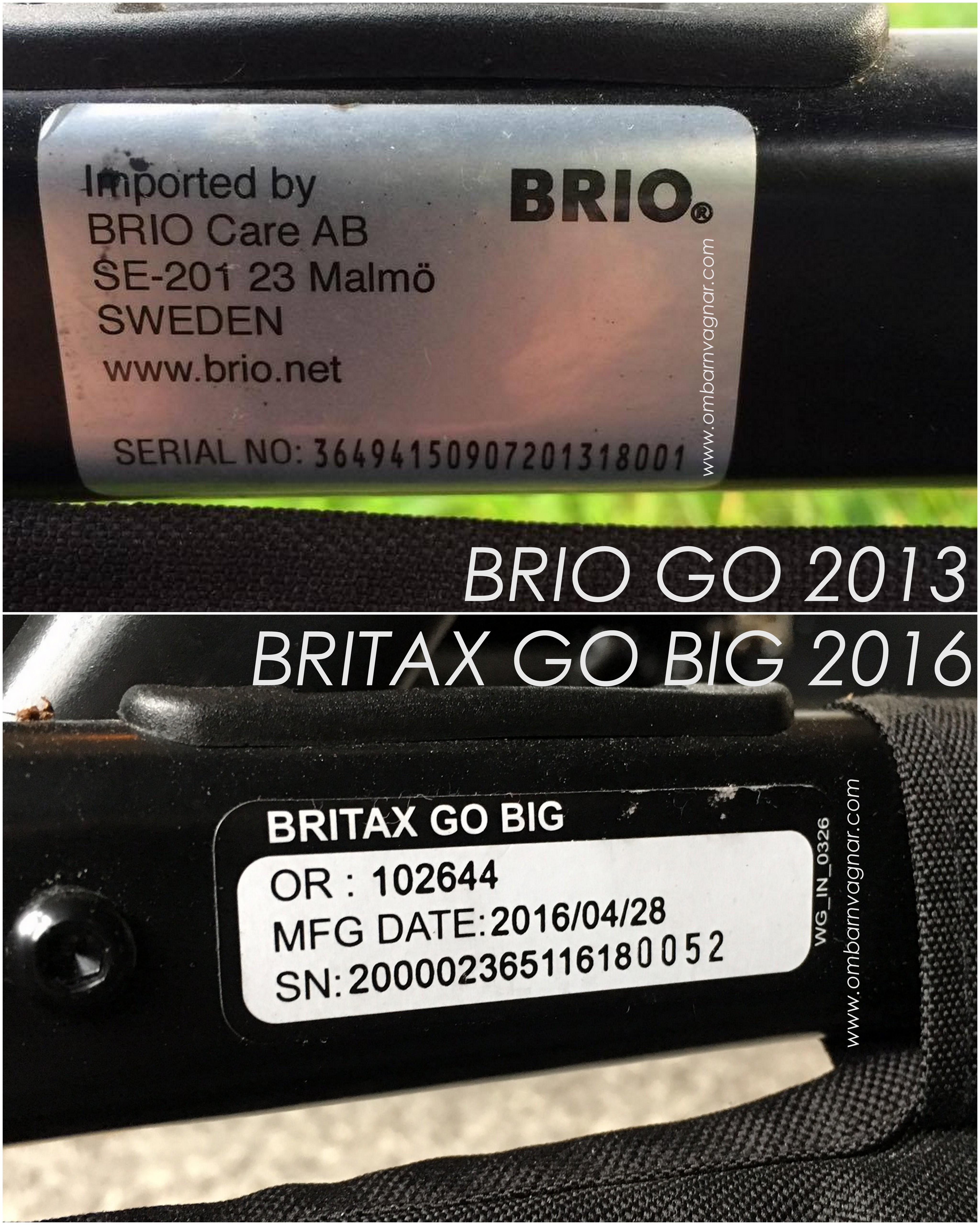 Brio Go och Britax Go Big se årsmodell
