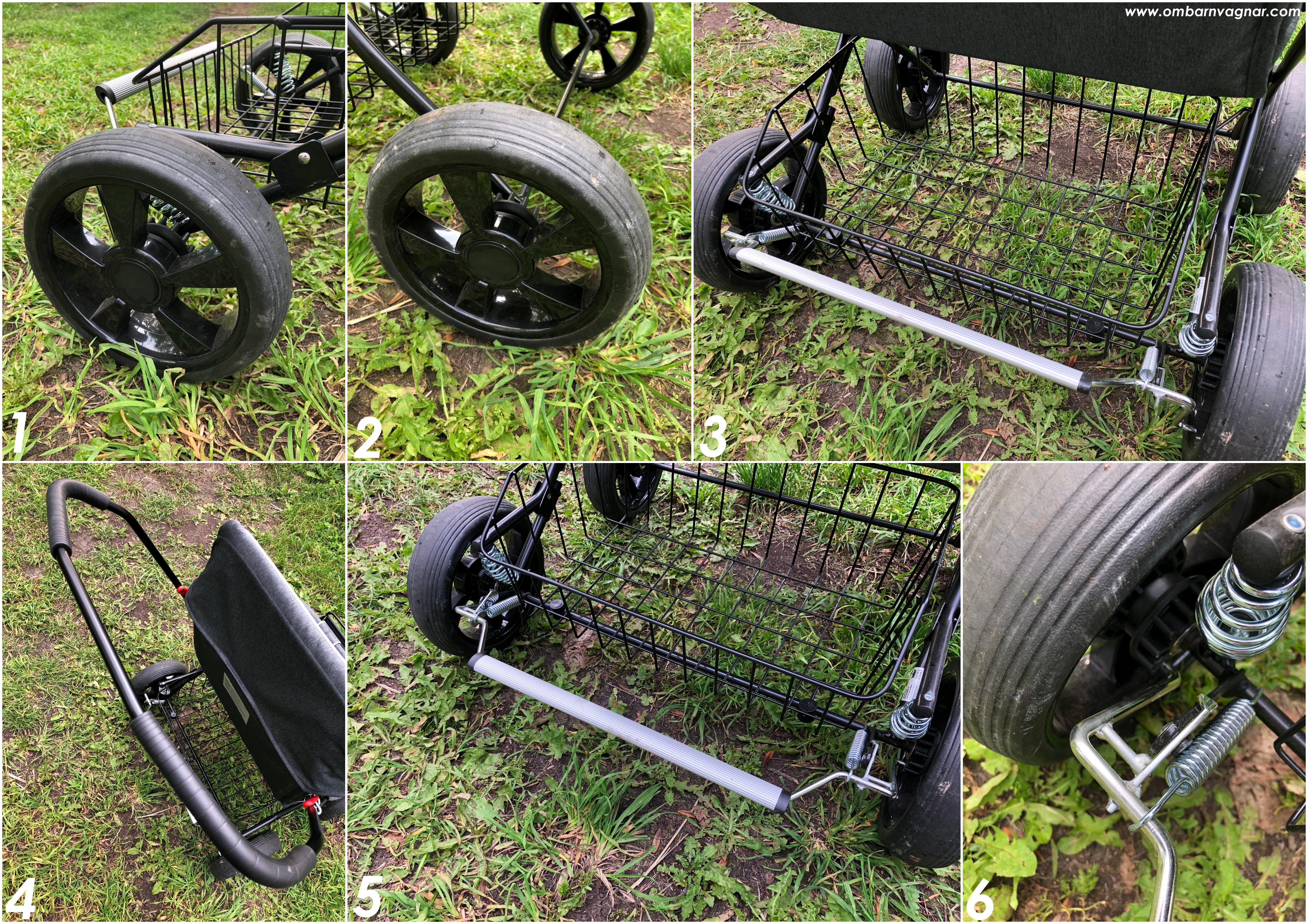 Stora, punkteringsfria hjul och rymlig varukorg på Nordic Crown Twin Sitty