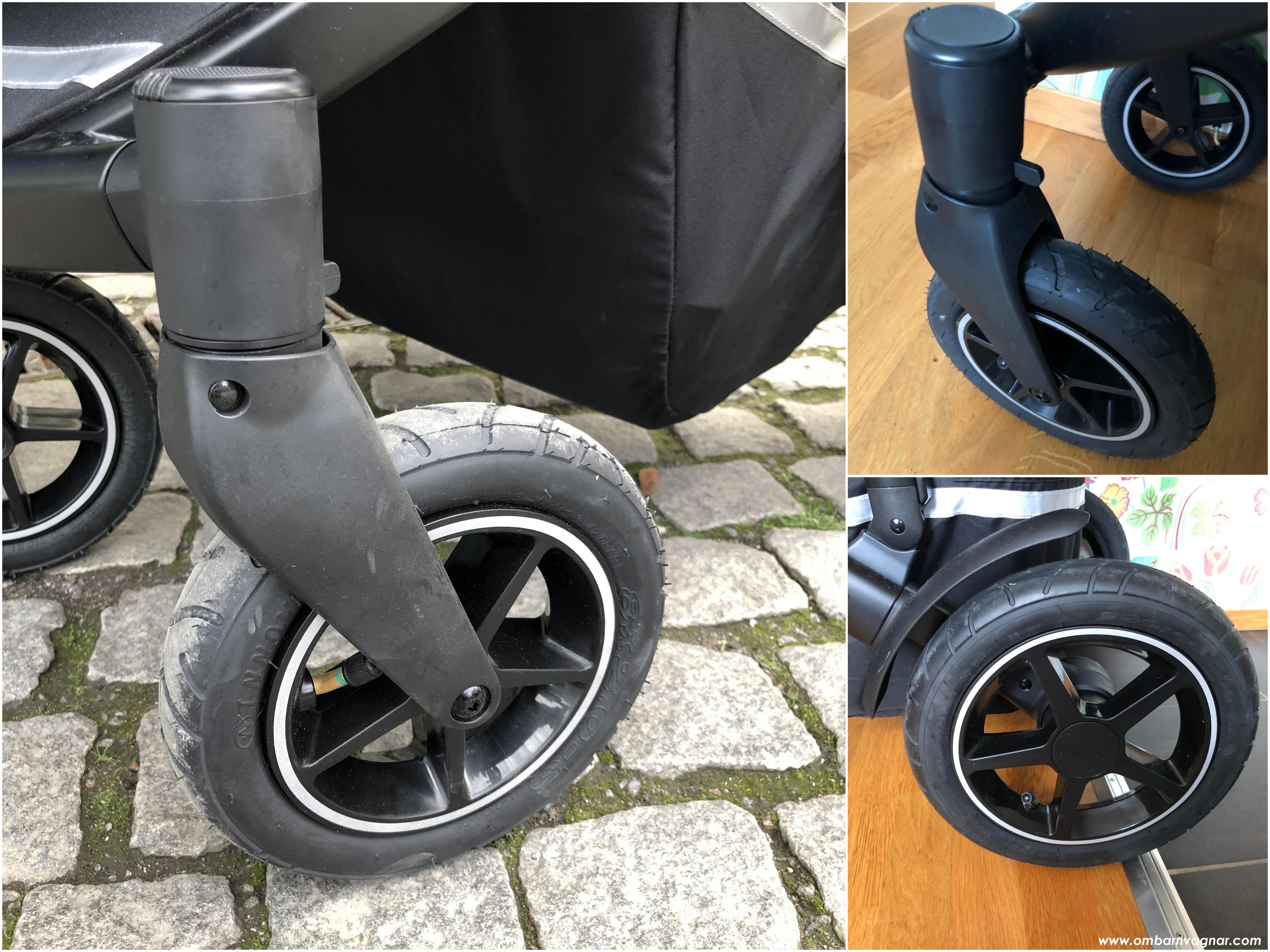 Britax Smile 3 har stora lufthjul, de främre är svängbara men kan låsas