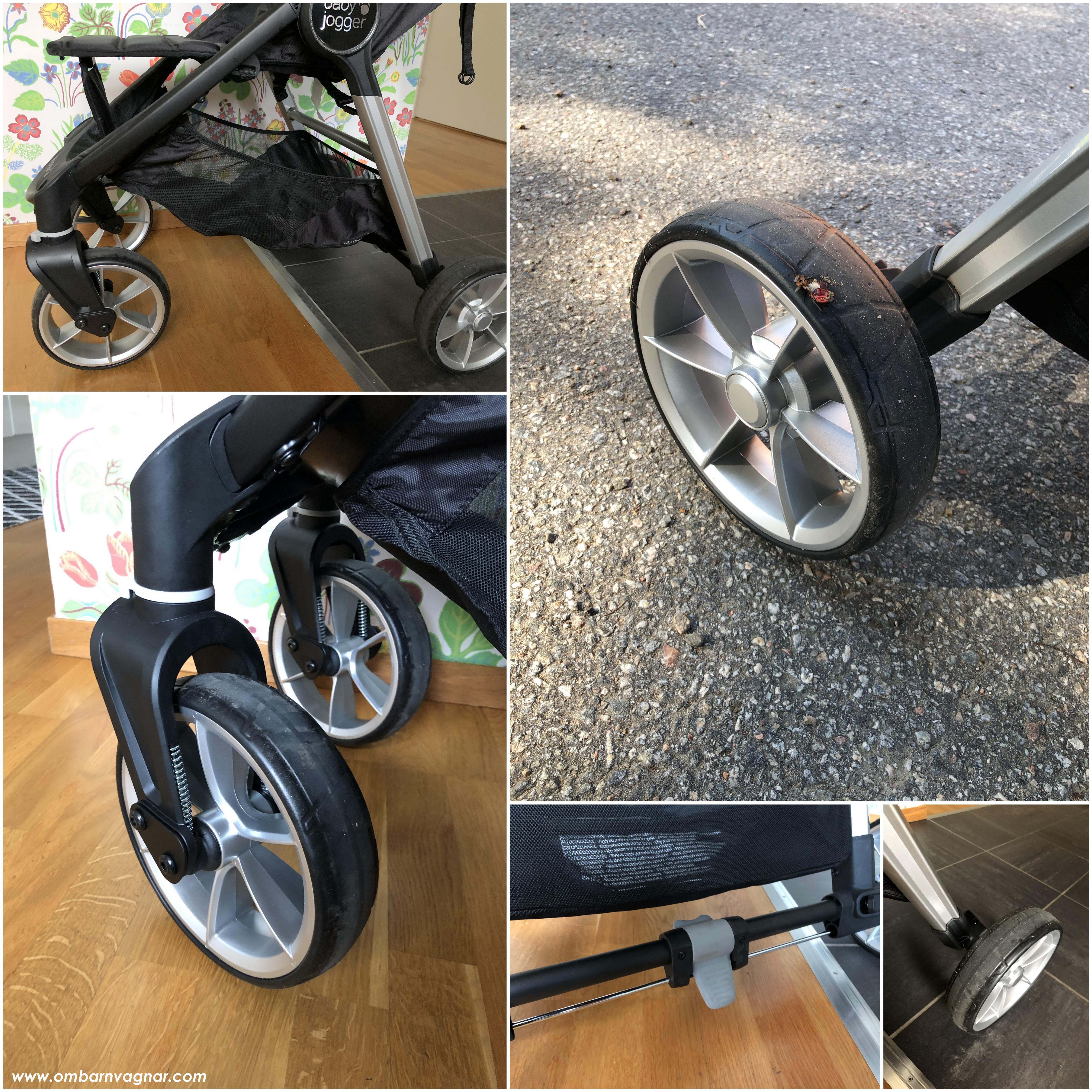 Baby Jogger City Mini 2 4W har punkteringsfria däck och en rymlig varukorg
