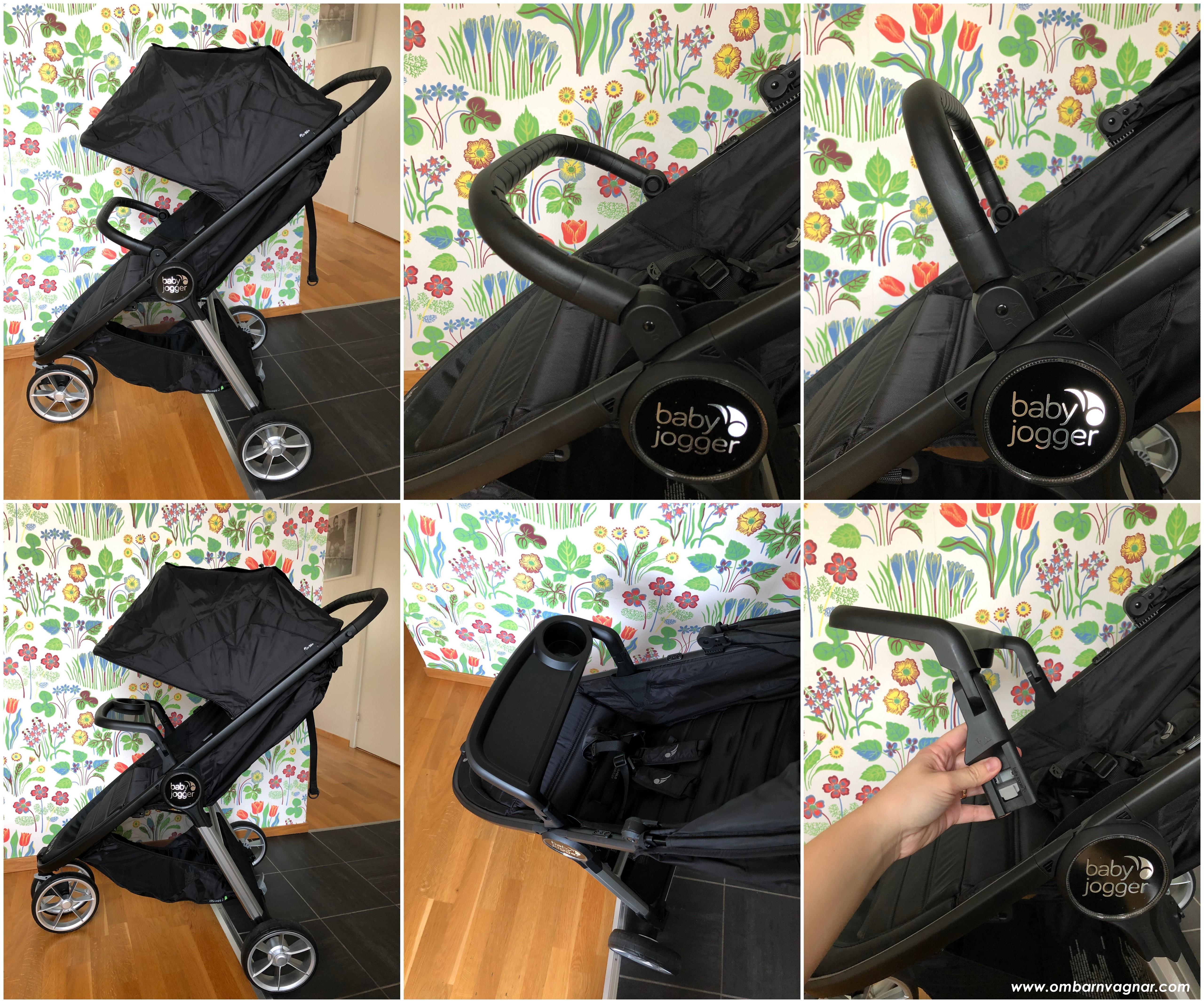 Både bygel och snack tray finns som tillbehör till Baby Jogger City Mini 2 4W
