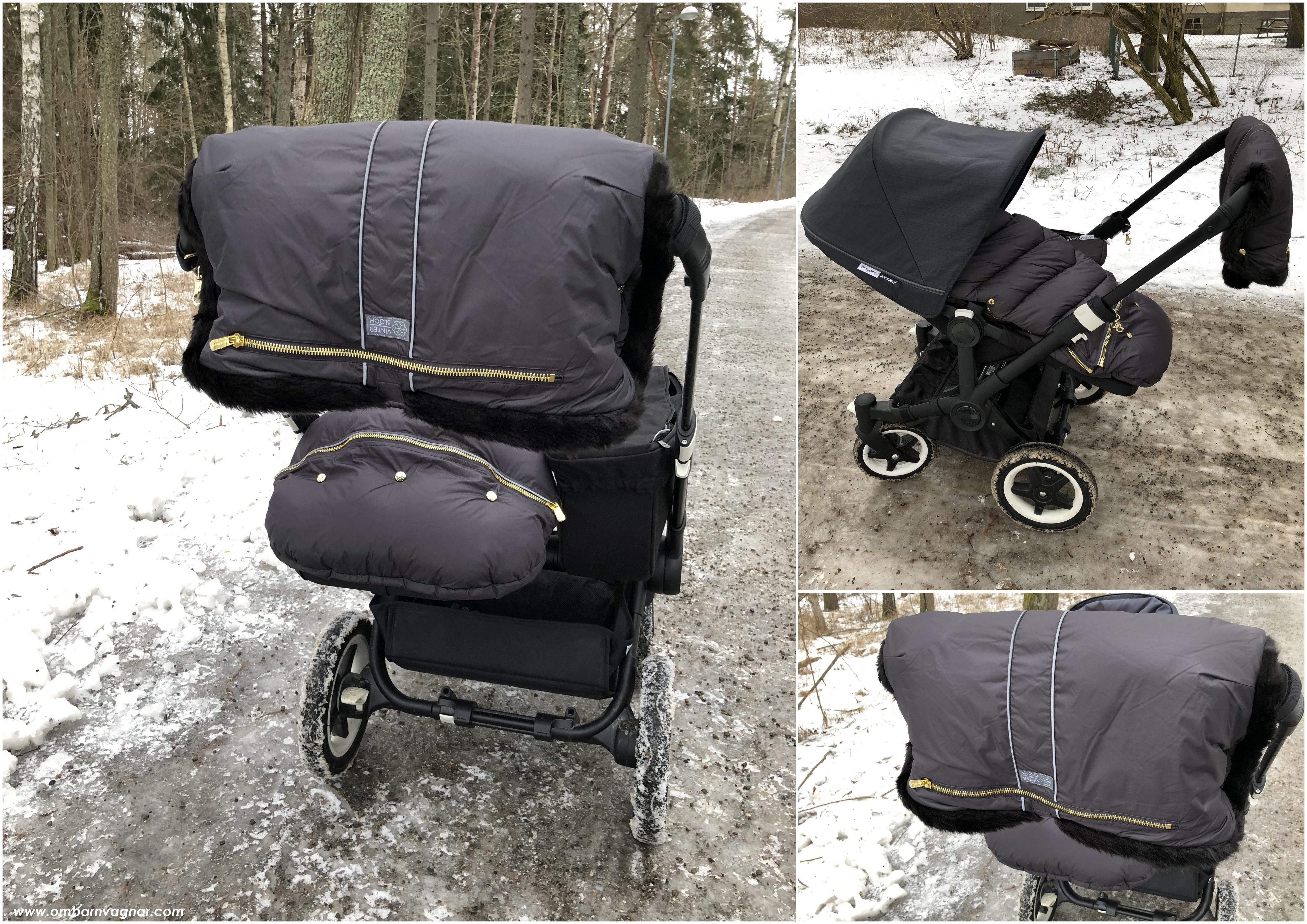 Så sitter Vinter & Bloom Chic handvärmare på barnvagnens handtag
