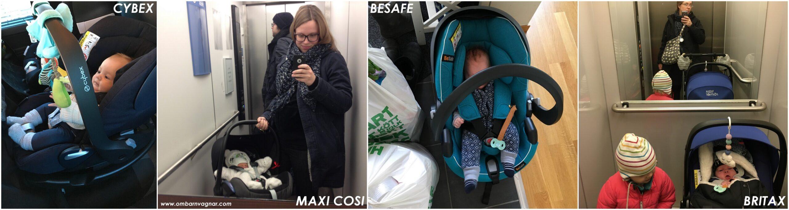 Babyskydd från Cybex, Maxi Cosi, BeSafe och Britax.