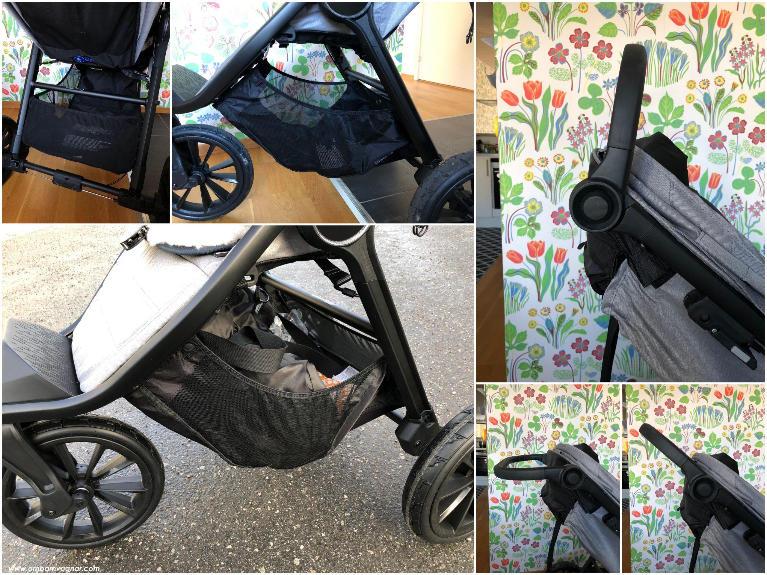 Baby Jogger City Elite 2 har en rymlig varukorg och ett ställbart knäledshandtag
