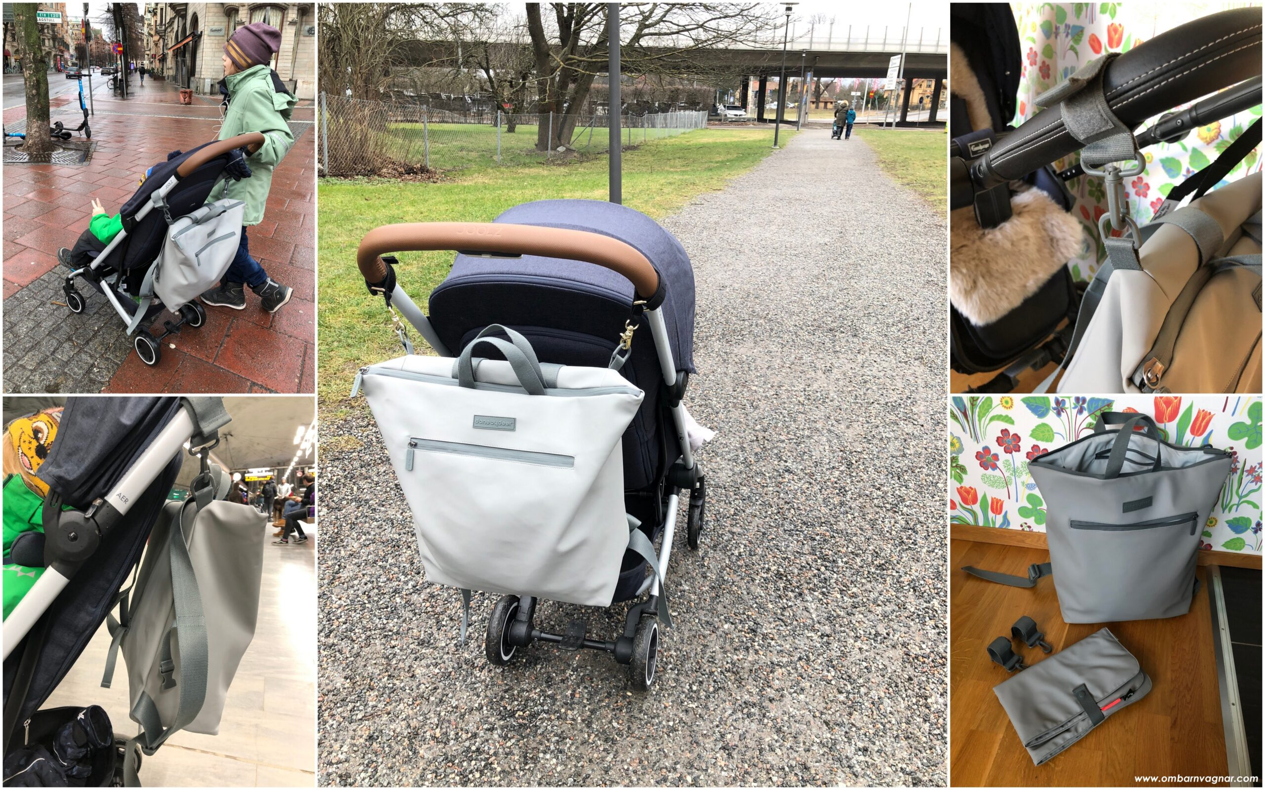 Done By Deer skötväska har separata upphängningskrokar för att fästa väskan på barnvagnen
