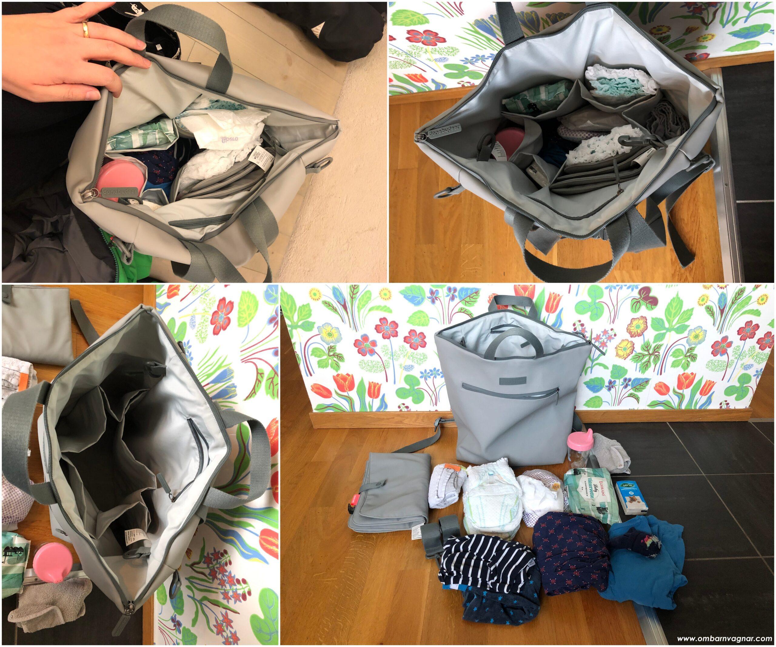 Done by Deer skötväska är en rymlig ryggsäck med gott om förvaringsfack
