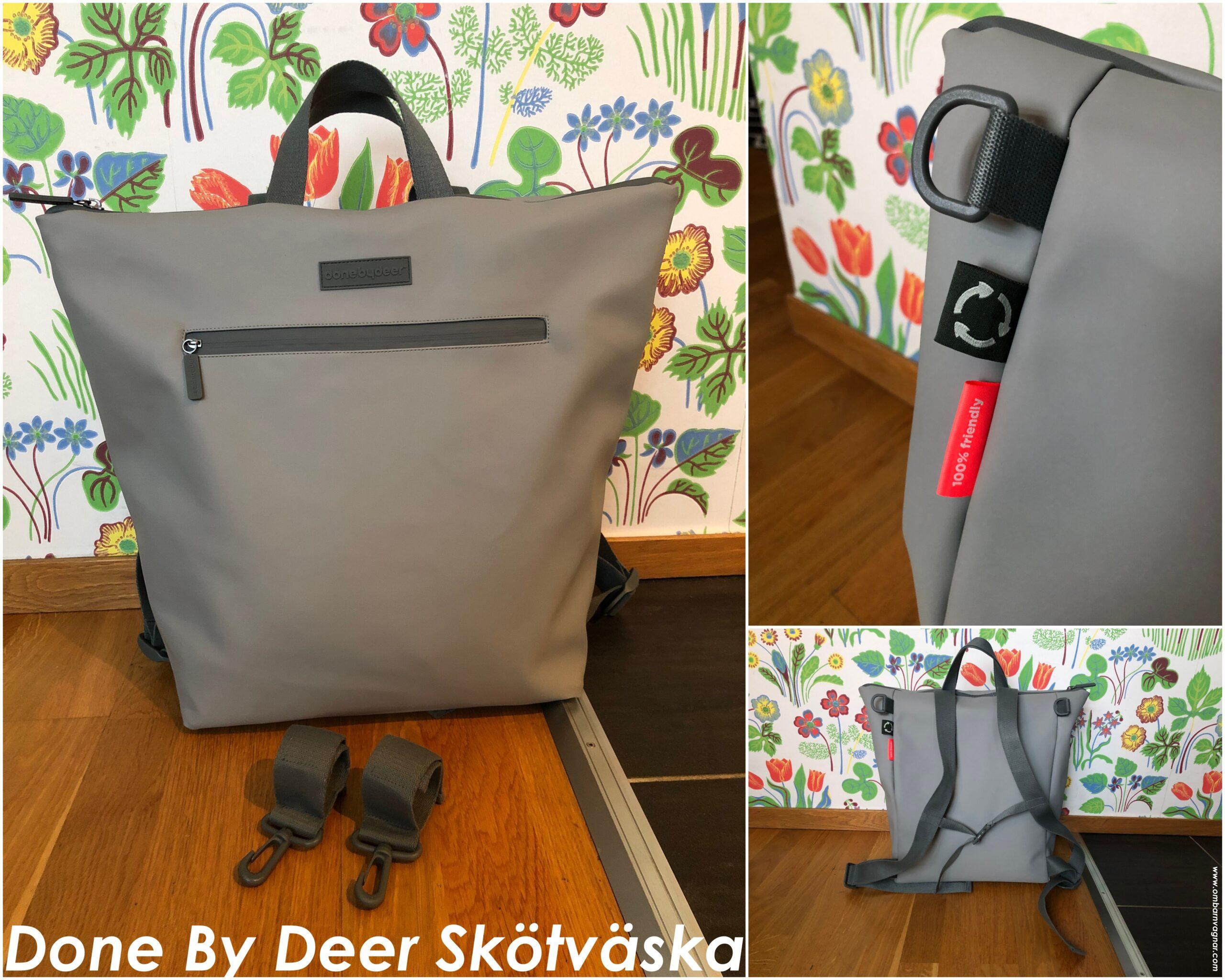 Recension av Done By Deer Skötväska med ryggsäcksfunktion, tillverkad av återvunna material