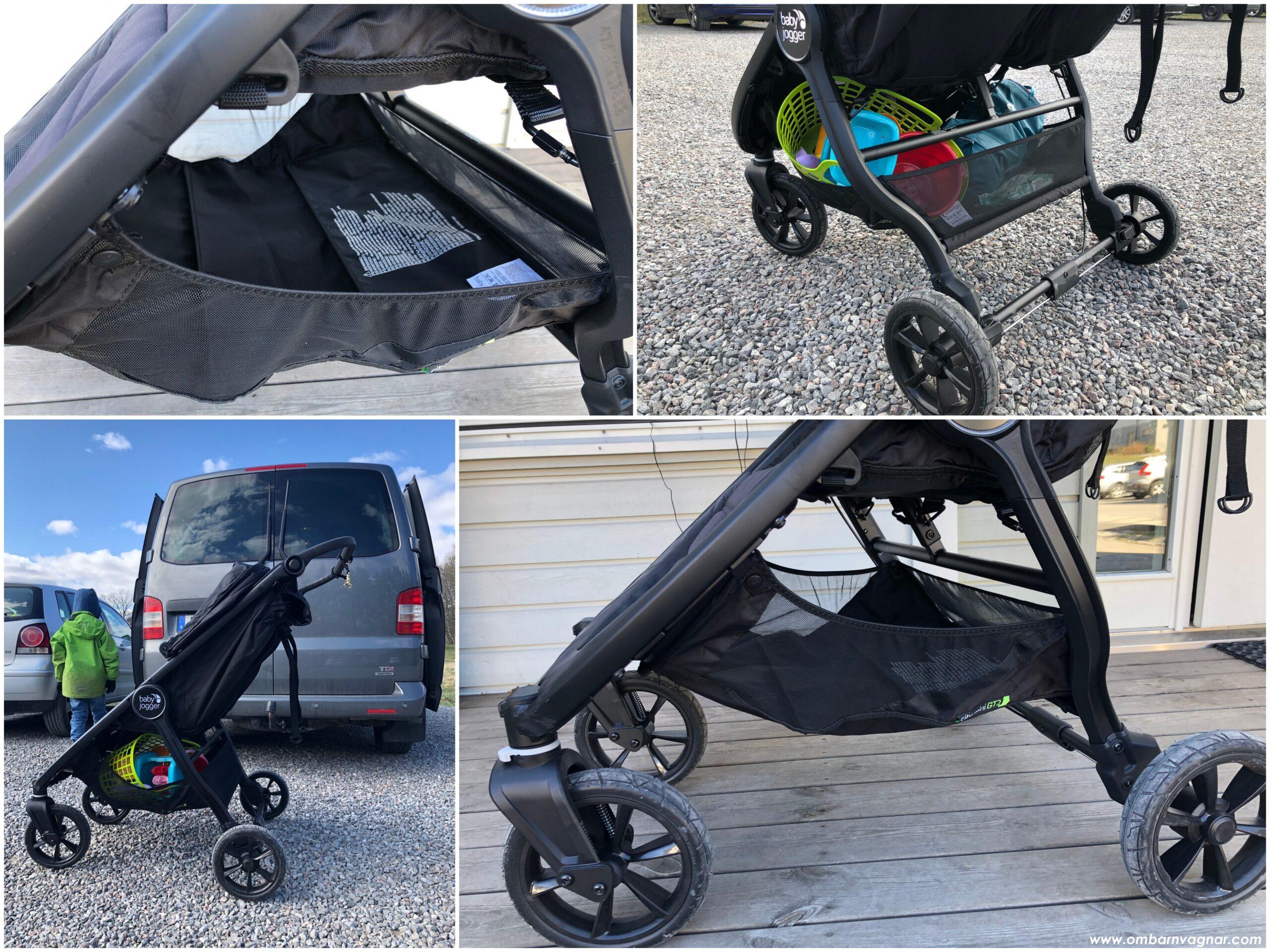 Varukorgen under Baby Jogger City Mini GT 2 Double är rymlig och enkel att komma åt från sidorna