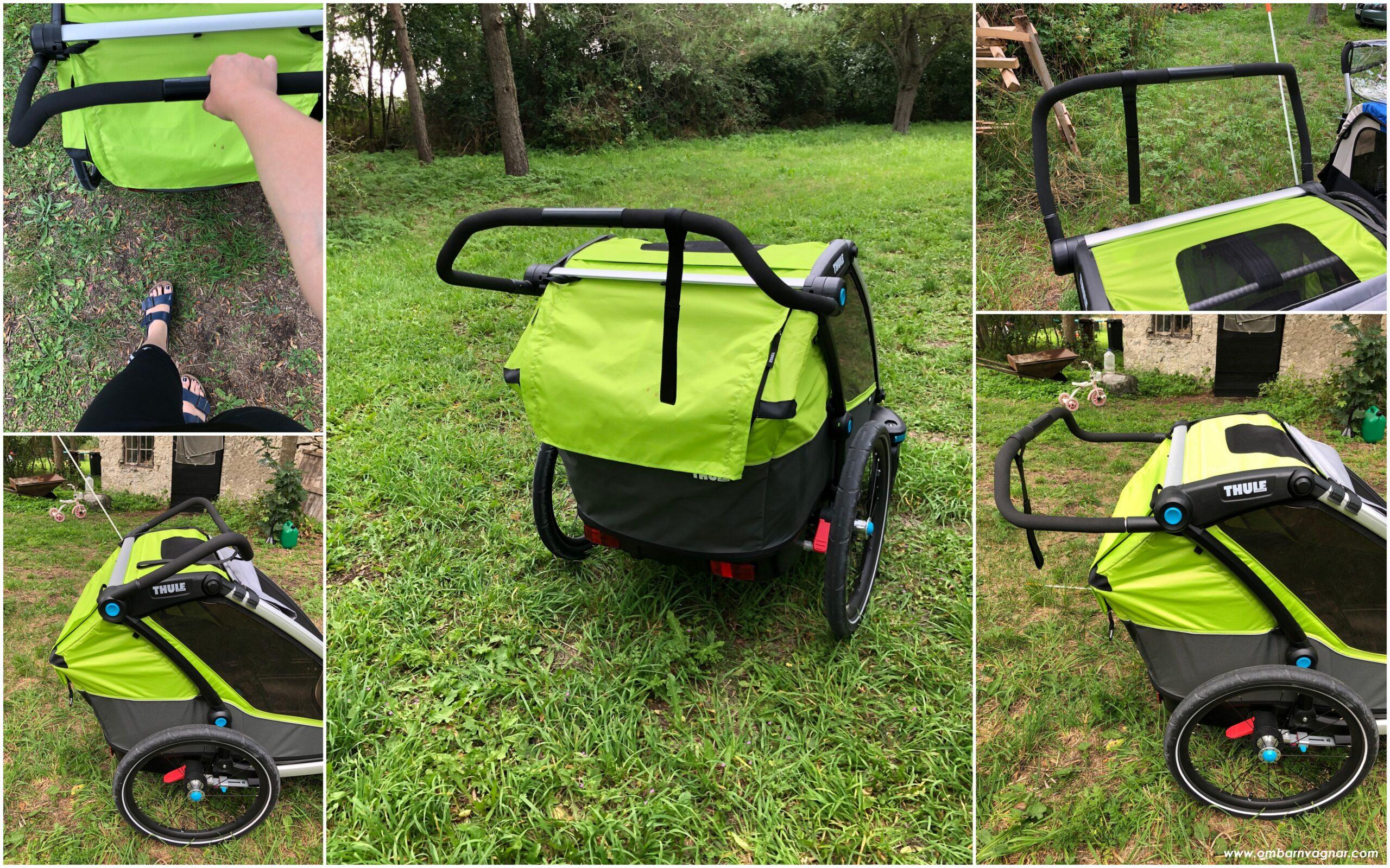 Thule Chariot Cab 2 cykelvagn har ställbart handtag och funkar bra som barnvagn för promenader