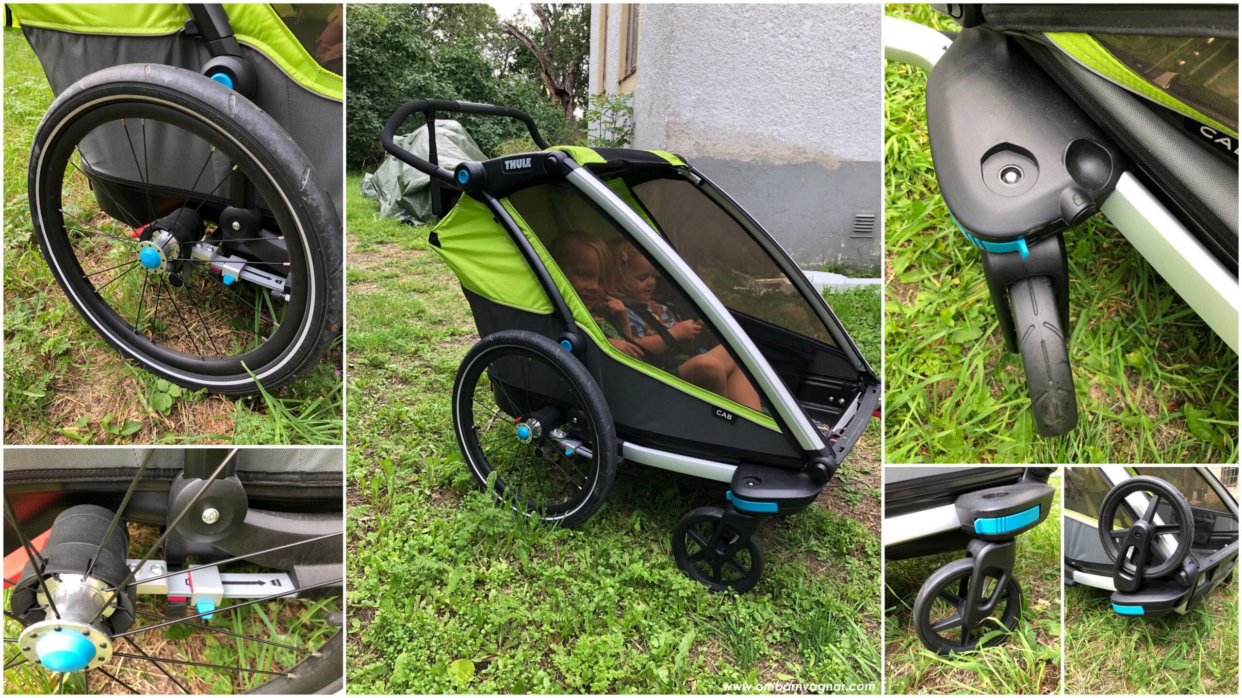 Thule Chariot Cab 2 cykelvagn har stora lufthjul baktill samt små, avtagbara framhjul