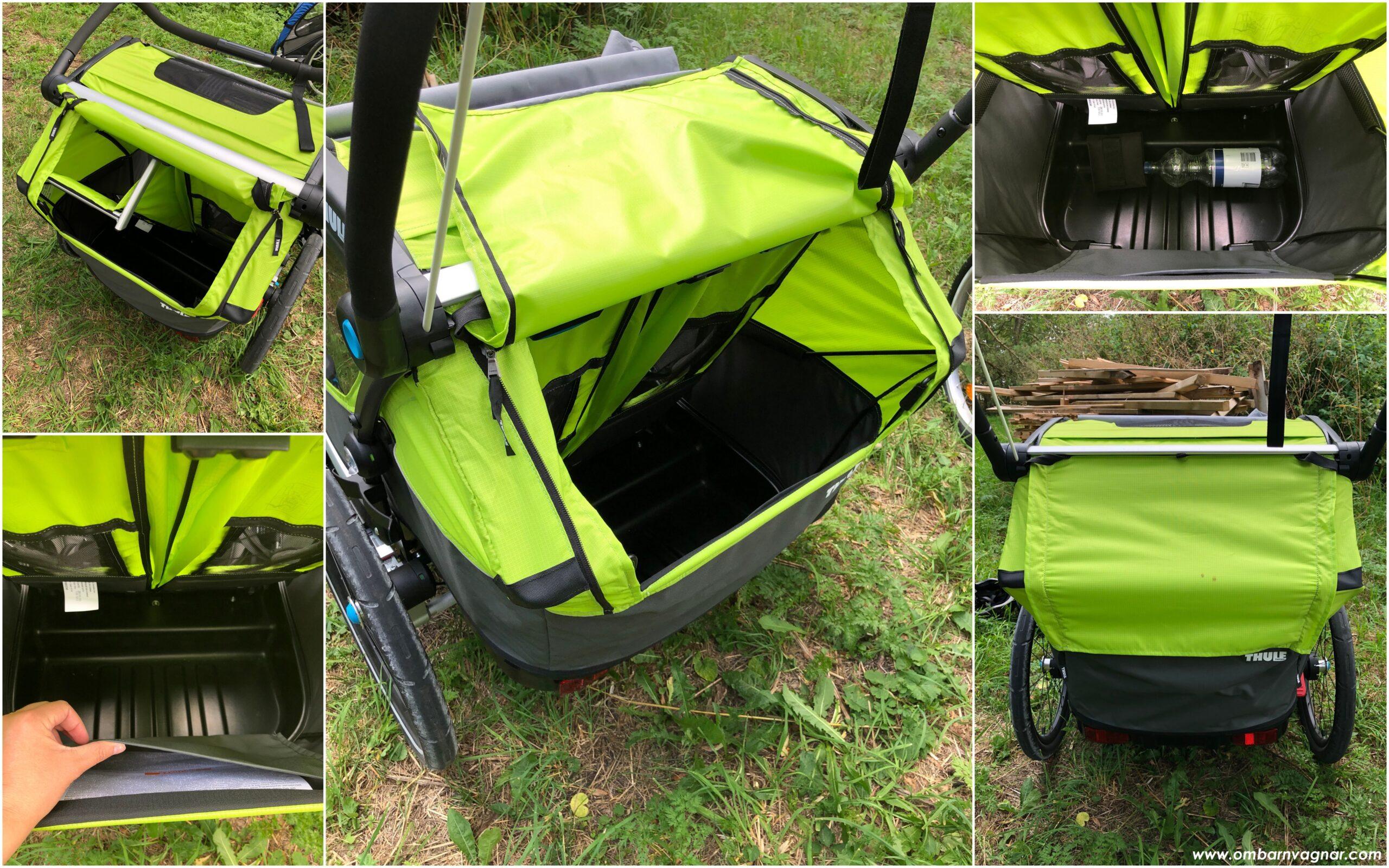 Rymligt och lättåtkomligt packutrymme i Thule Chariot Cab 2 cykelvagn