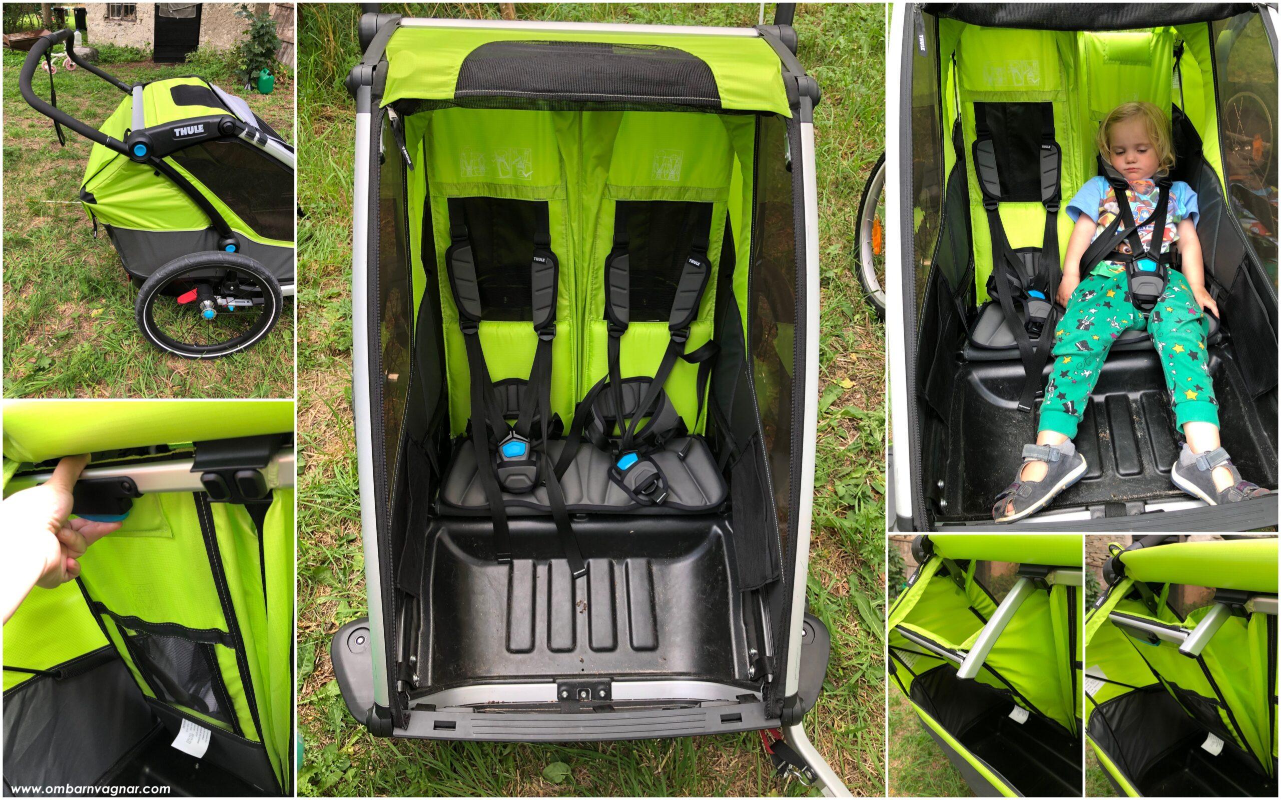 Thule Chariot Cab 2 cykelvagn har ställbart viloläge på ryggstöden
