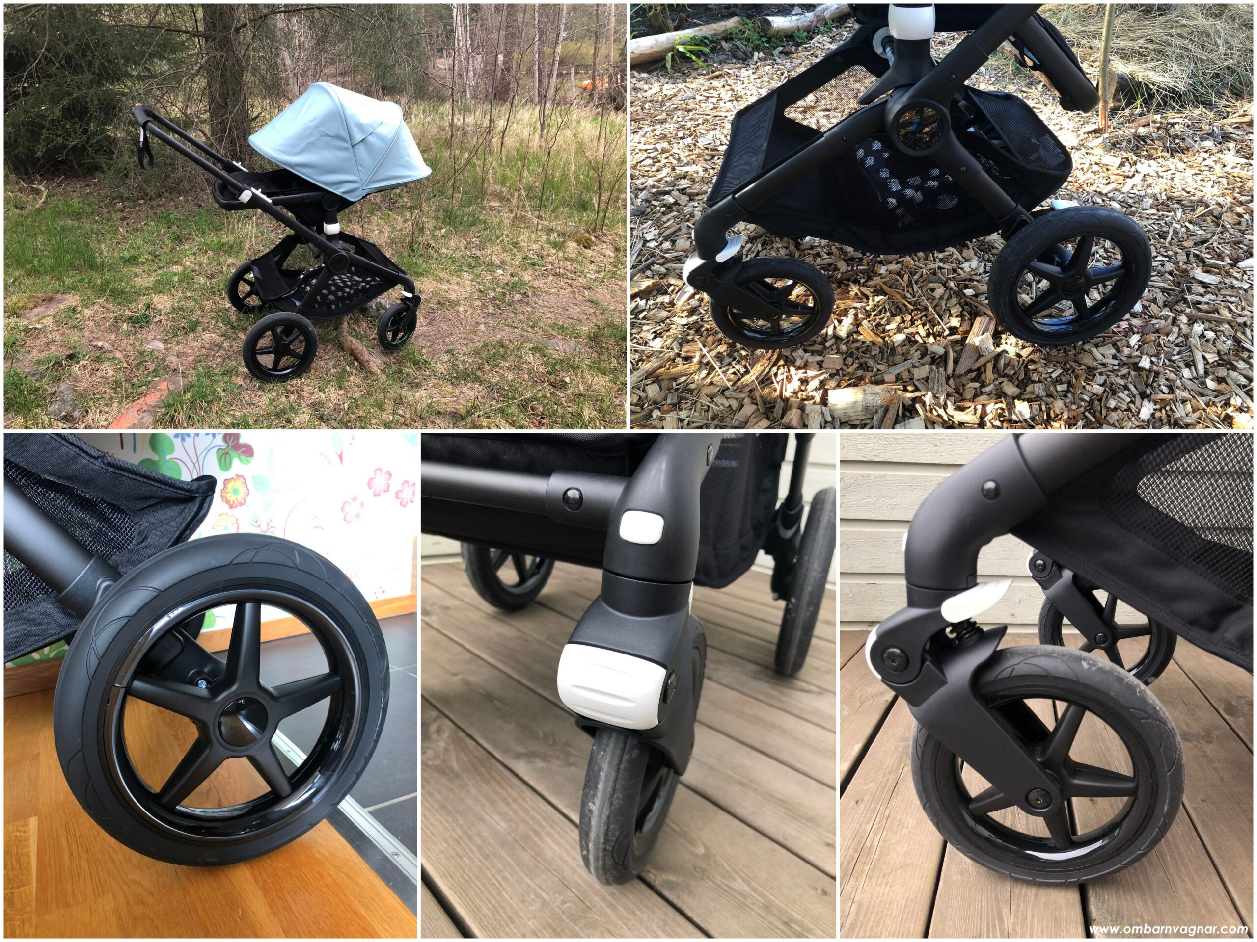 Bugaboo Fox 2 har punkteringsfria skumhjul med avtagbara navkapslar