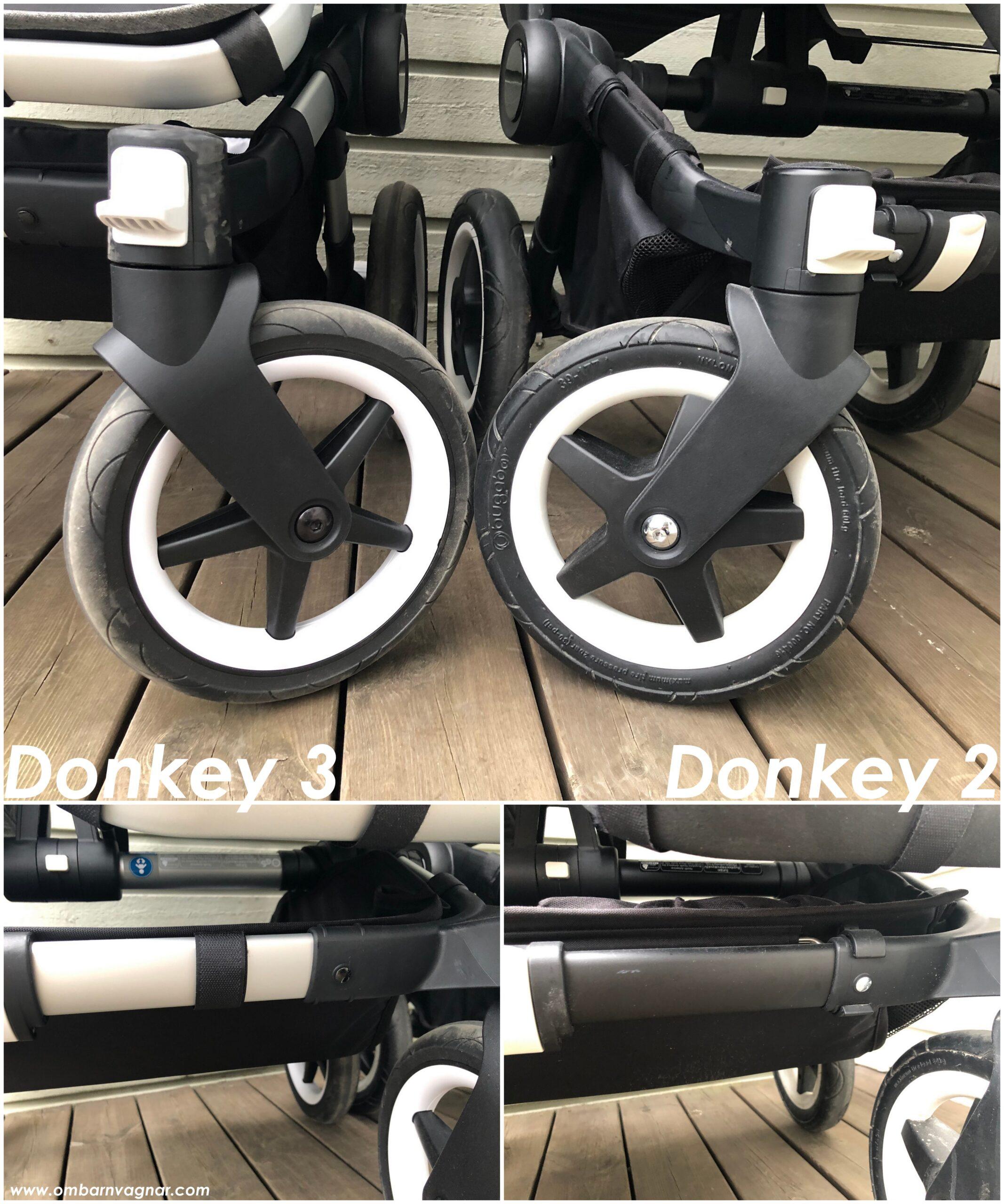 Bugaboo Donkey 2 och Bugaboo Donkey 3 har olika hjul och olika varukorgar