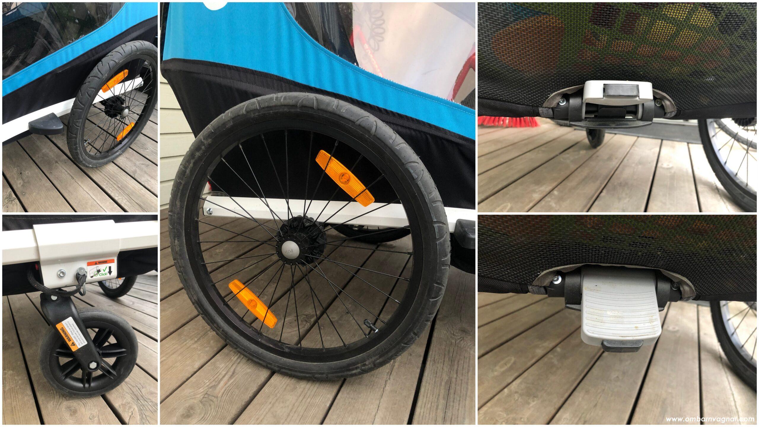 Hamax Traveller stora lufthjul, litet promenadhjul och smart broms