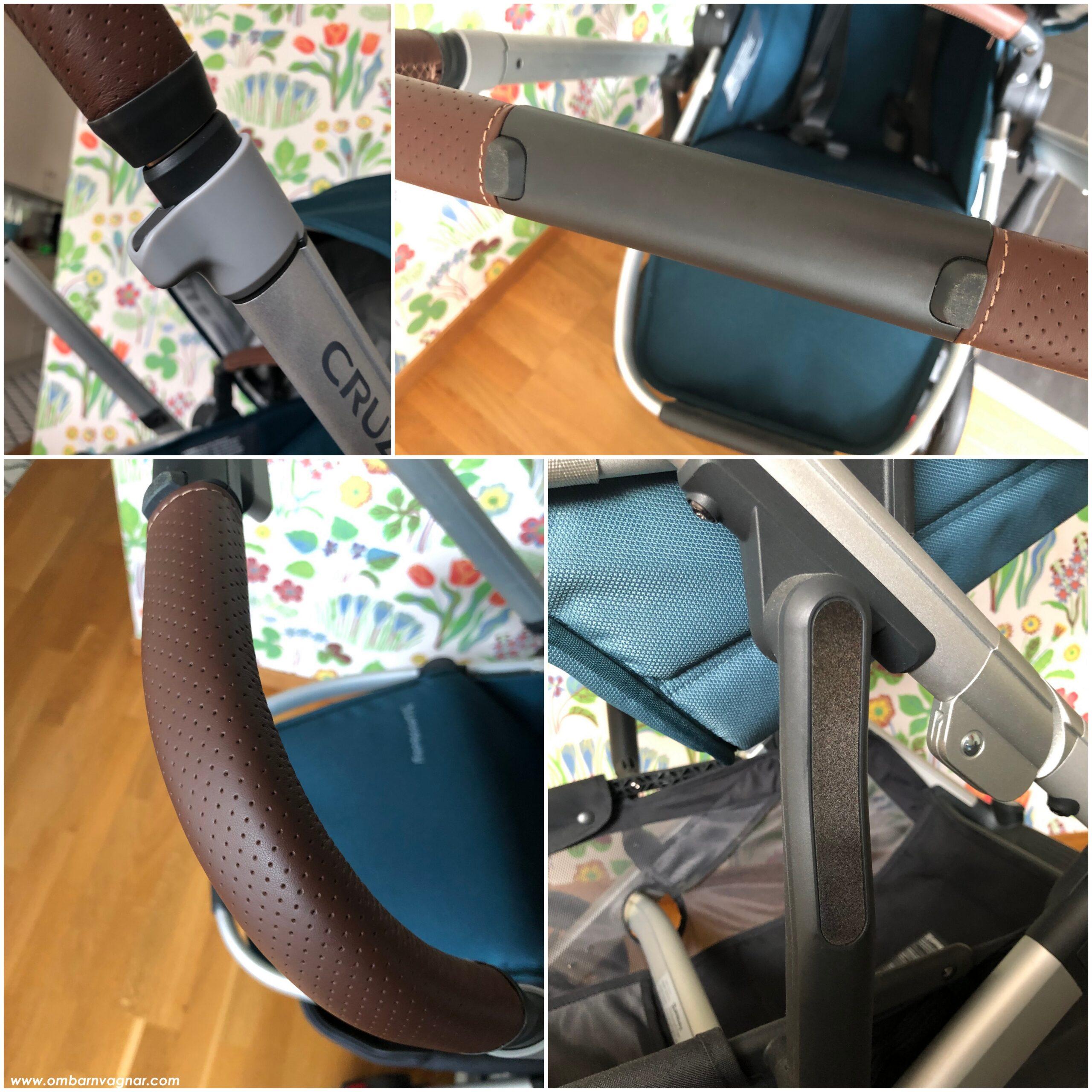 UPPAbaby Cruz V2 har läderhandtag med förstärkning, och inbyggda reflexer