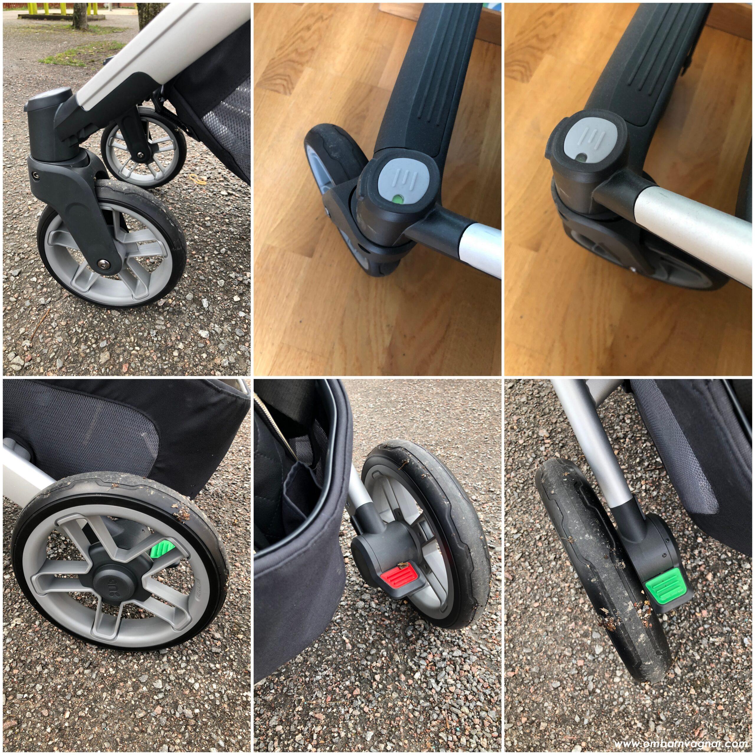 UPPAbaby Cruz V2 har punkteringsfria däck, och en tudelad broms