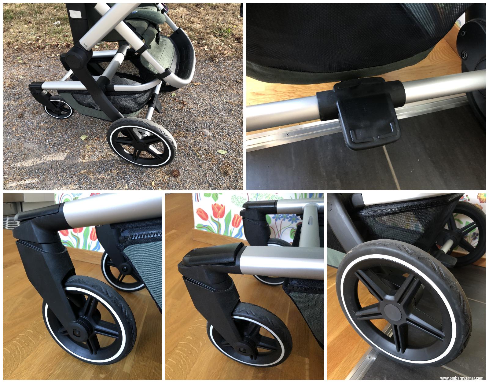 Joolz Day + är utrustad med svängbara, punkteringsfria hjul