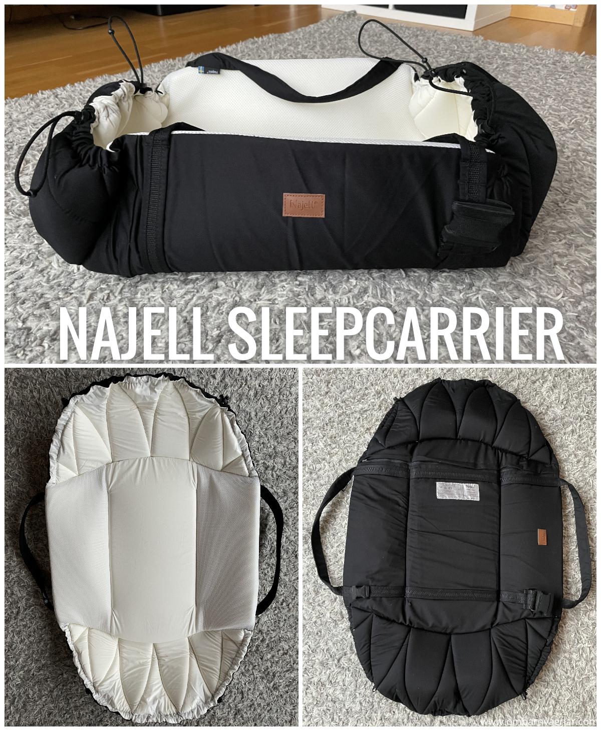 Najell SleepCarrier - liten och smidig mjuklift som kan fällas ut till platt lekmatt, och även fungerar som babynest