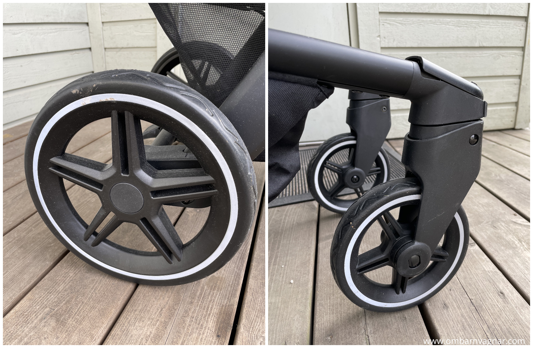 Joolz Hub + har nya hjul med nya design på hjulsidorna.