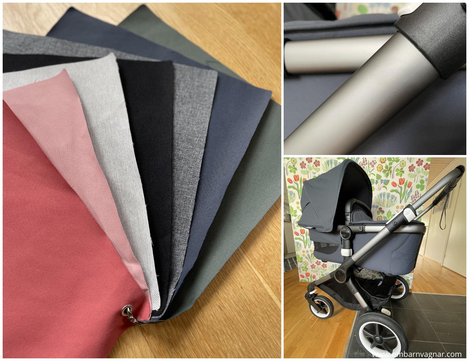Nytt chassit i graftigrå graphite grey på Bugaboo Fox 3, samt nya färger på klädsel och sufflett